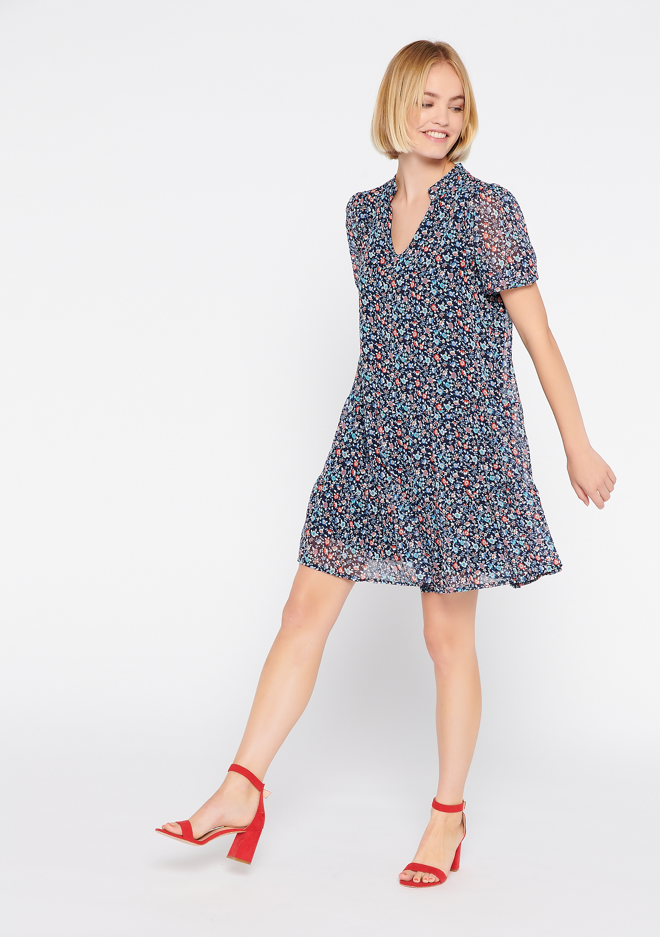 Mini dress with liberty print - BLUE BERRY - 08102307_2918