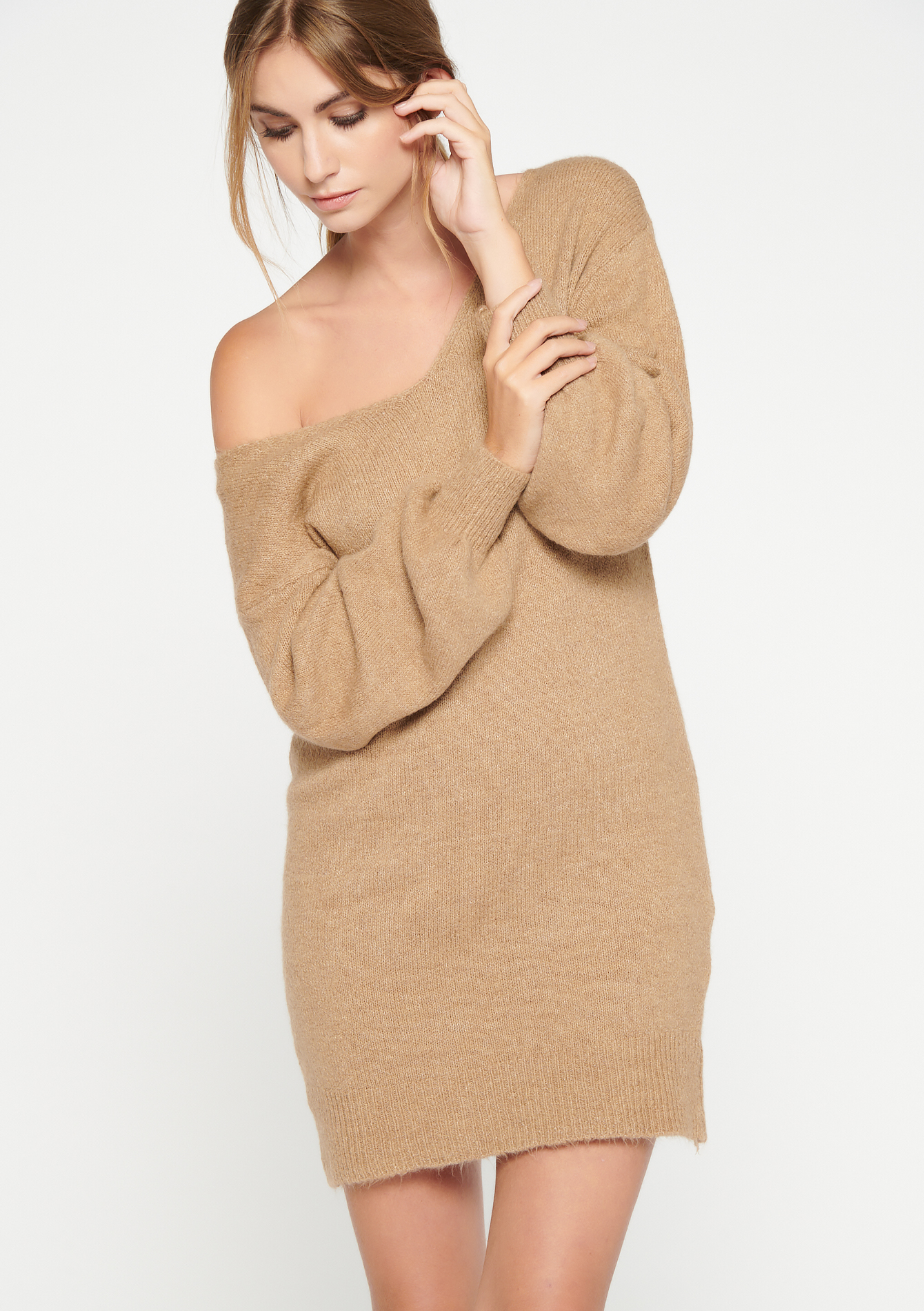 Robe pull à manches longues - CAMEL BROWN - 15000487_3818