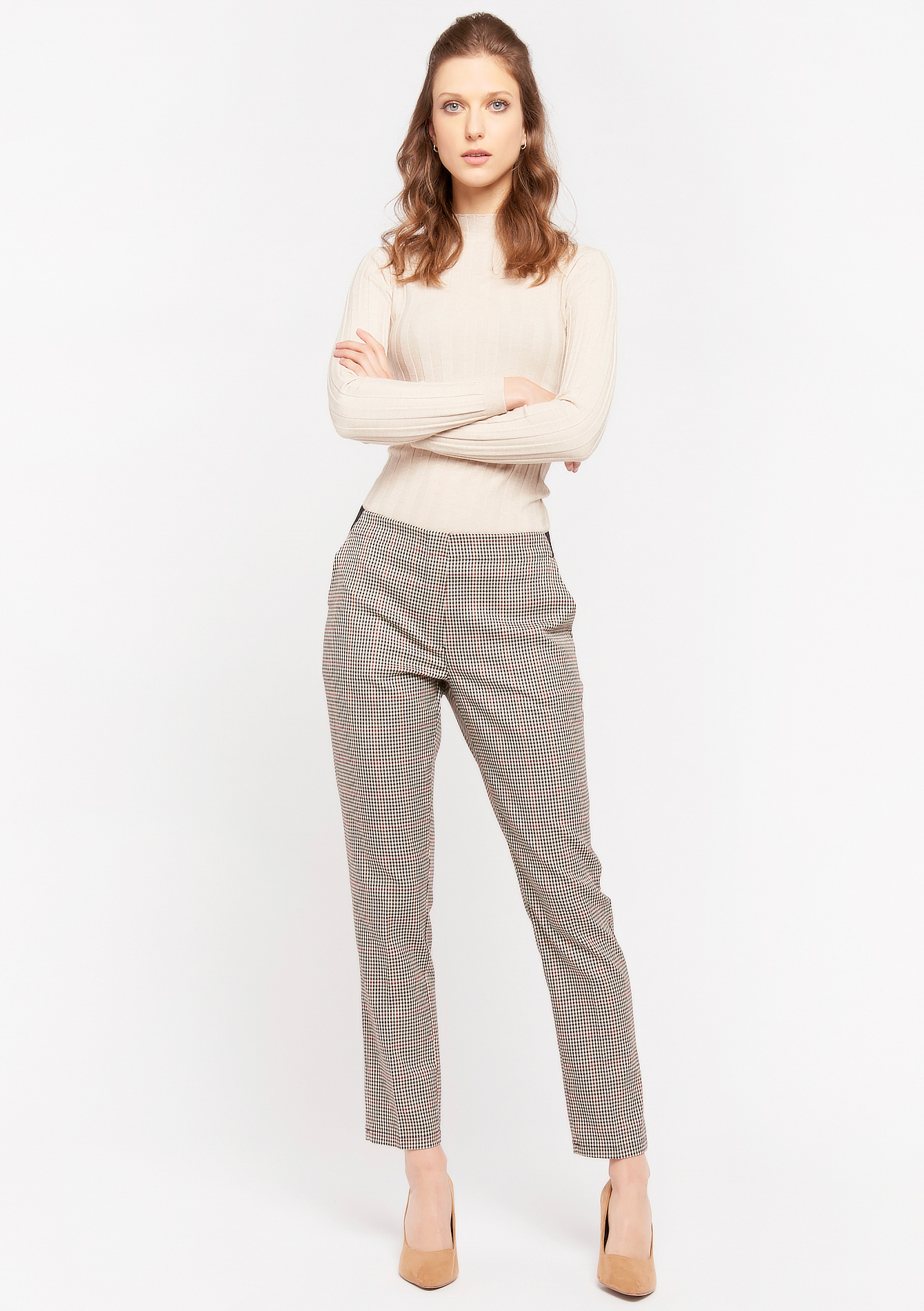 Pantalon cigarette prince de galles - TOFFEE BROWN - 06100235_1154