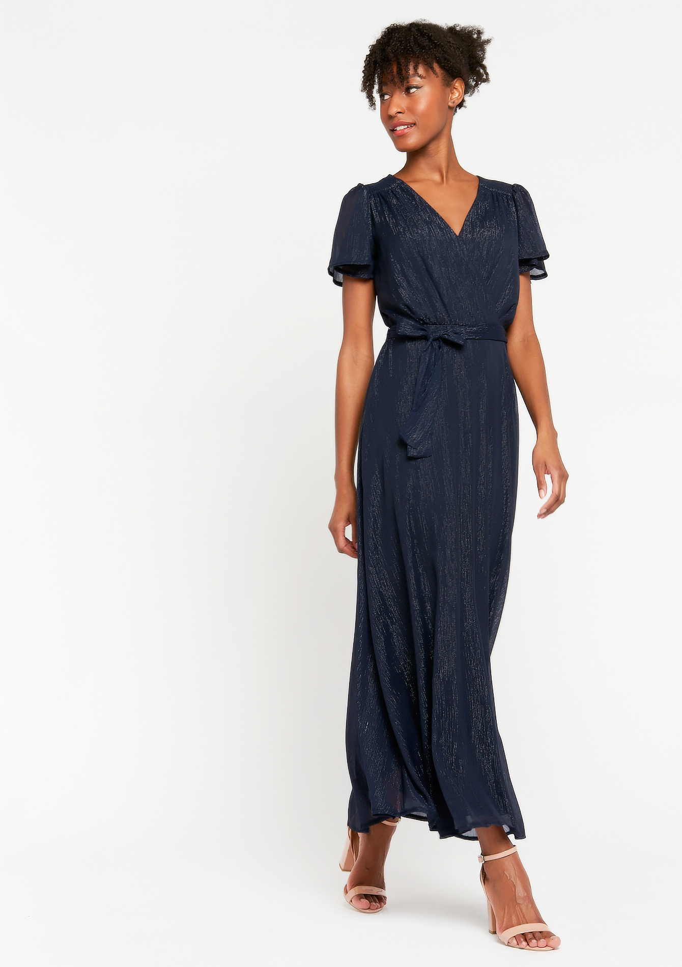 Maxi dress with short sleeves and belt - NAVY BLUE - 08601295_1651