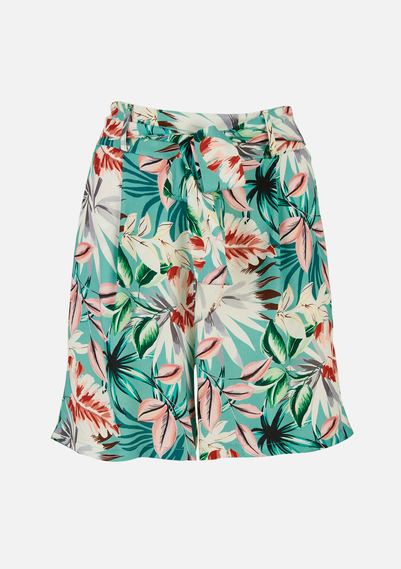 Short met tropische print - ALMOND GREEN - 06100270_1724