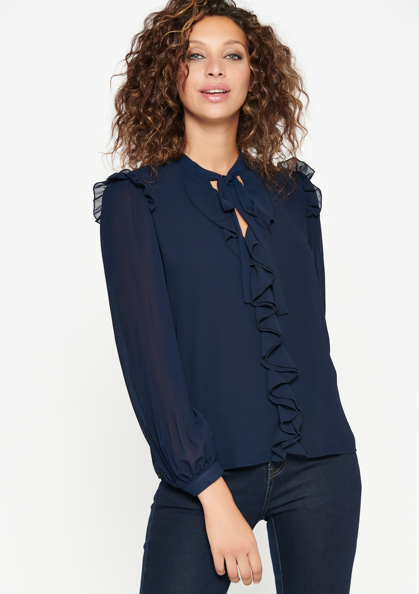Blouse with frills and bow - NAVY BLUE - 05701528_1651