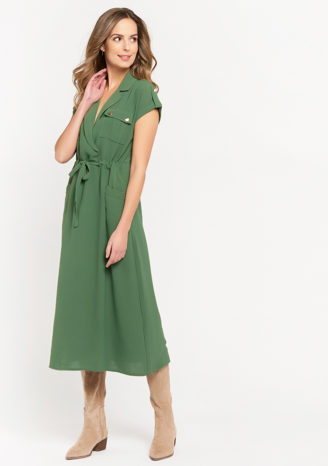 Maxi dress with belt and long collar - KHAKI TILLEUL - 08601286_4406