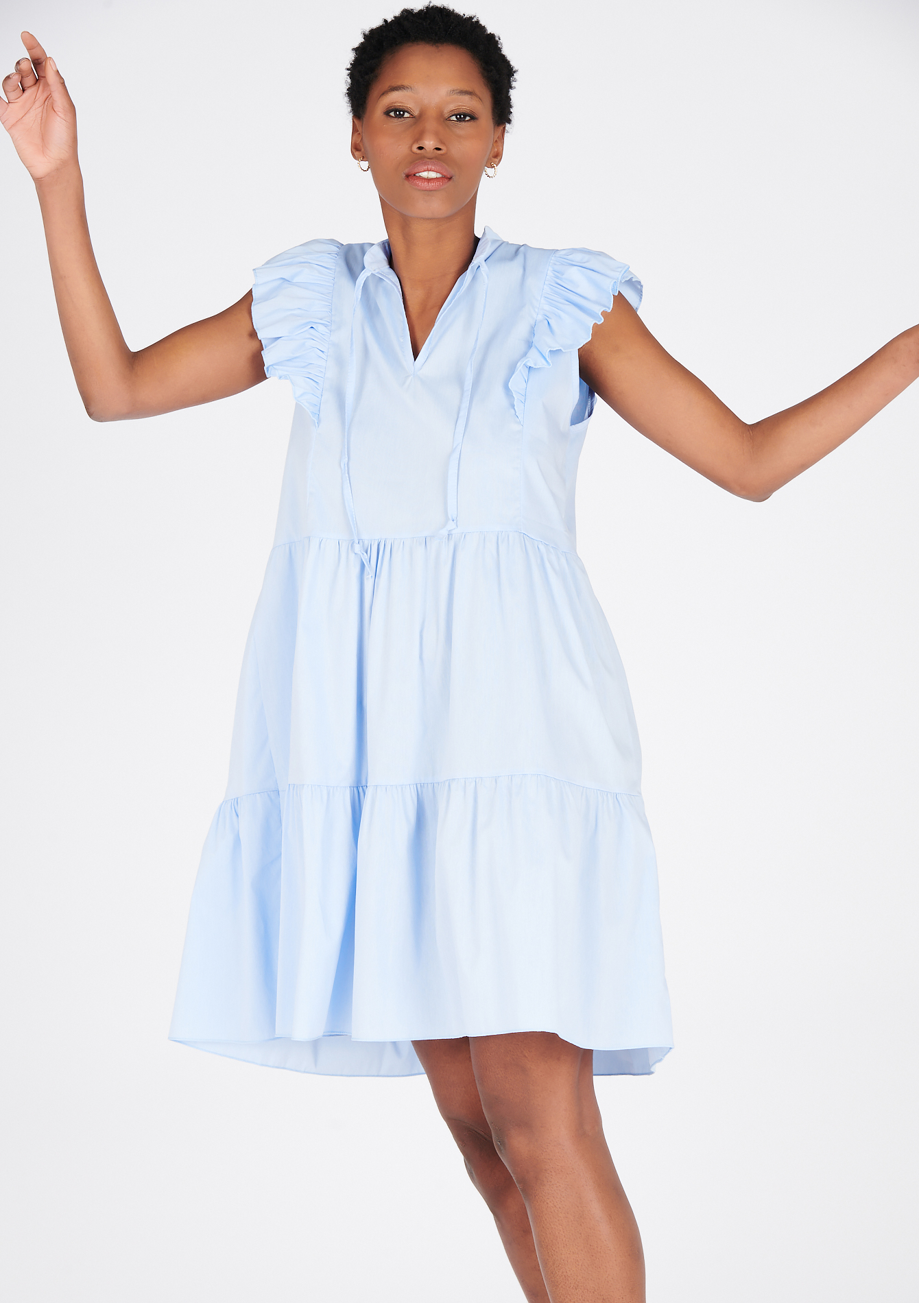 Robe à volants avec col V - LIGHT BLUE - 08102493_1709