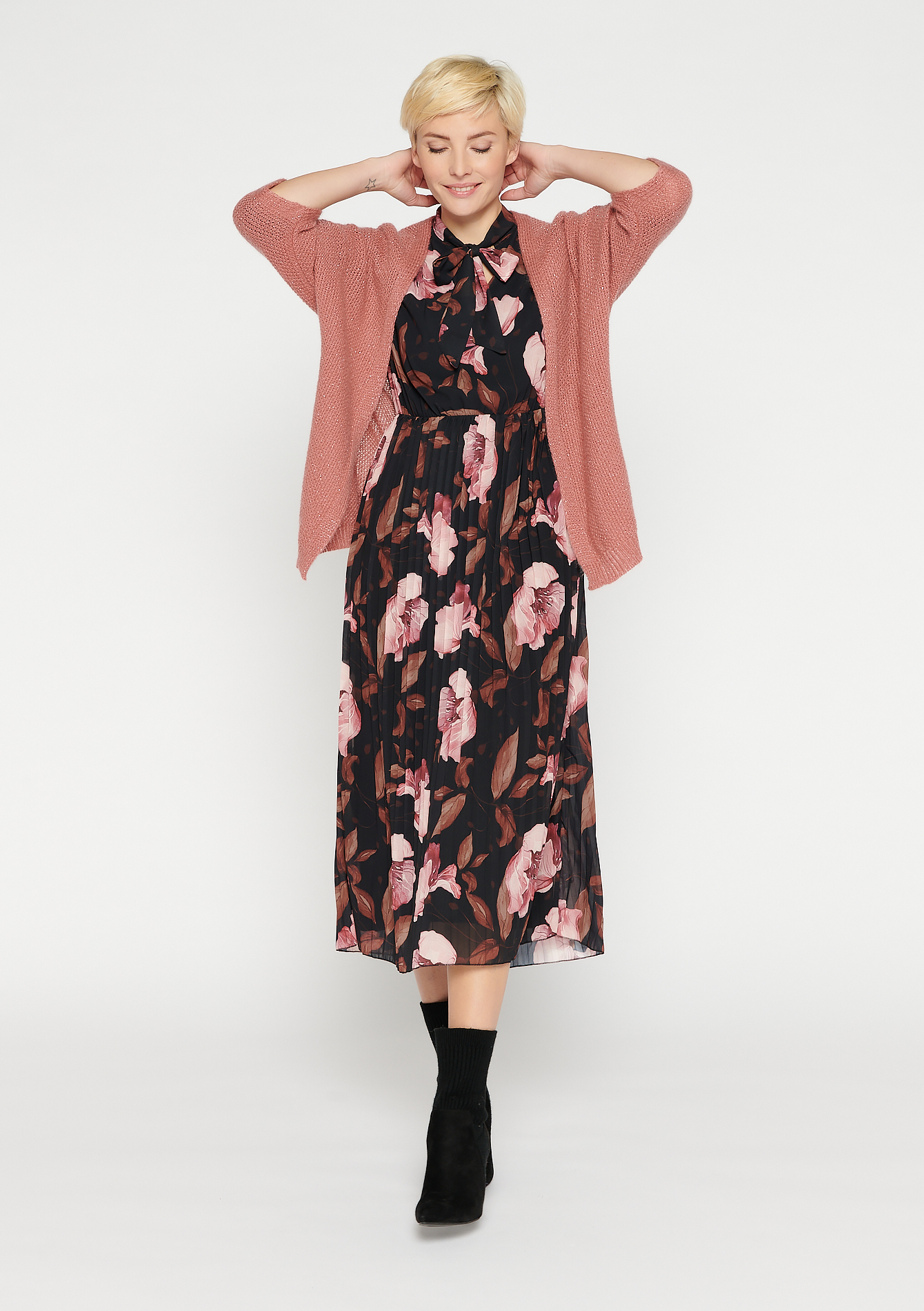 Bat-wing cardigan - PINK COSMIC - 04100779_4113