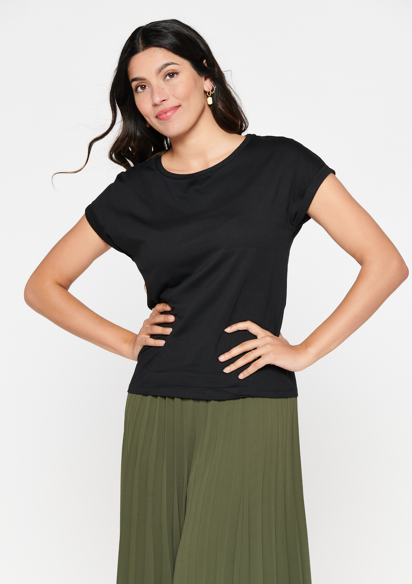 T-shirt basique en viscose Ecovero - BLACK - 02300871_1119