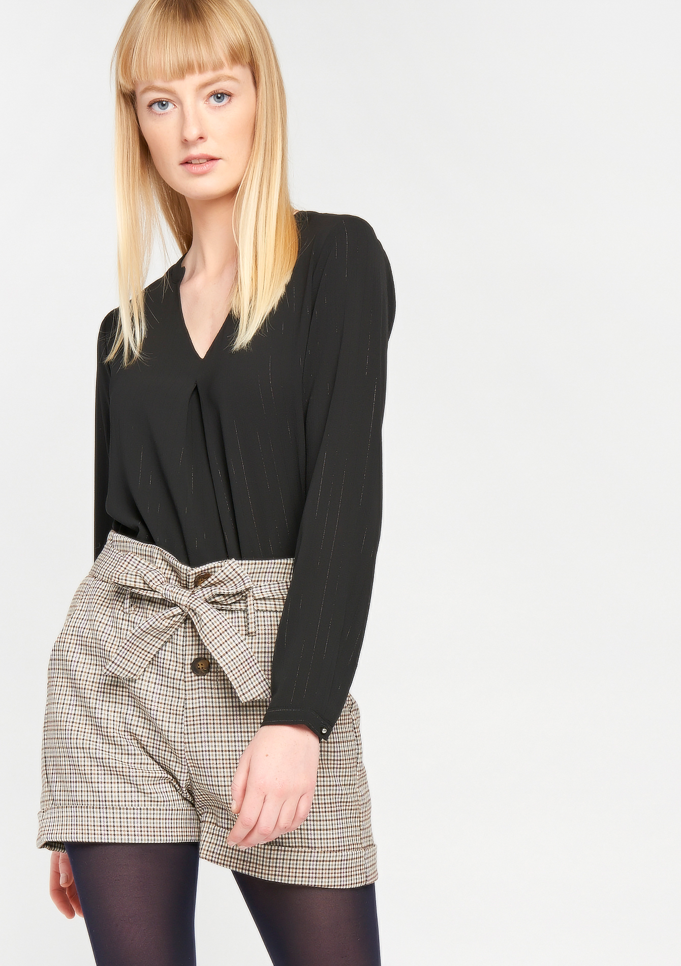 Blouse effen oosterse hals