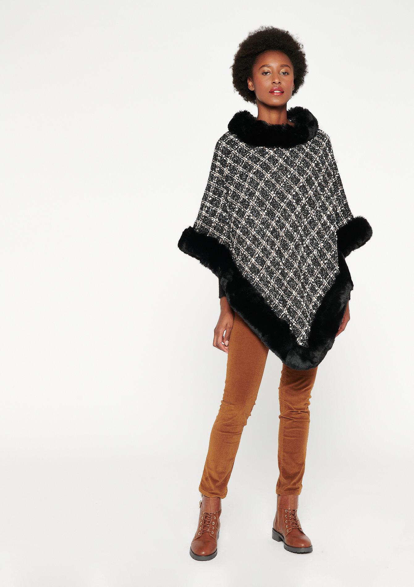 Poncho à carreaux - BLACK - 1006479