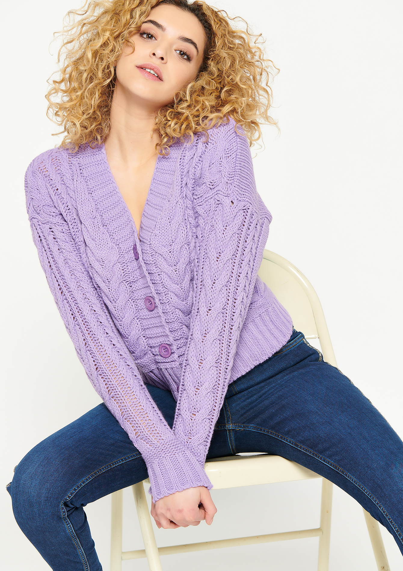 Cardigan with buttons and rib pattern - VIOLET LAVENDER - 04100871_1508
