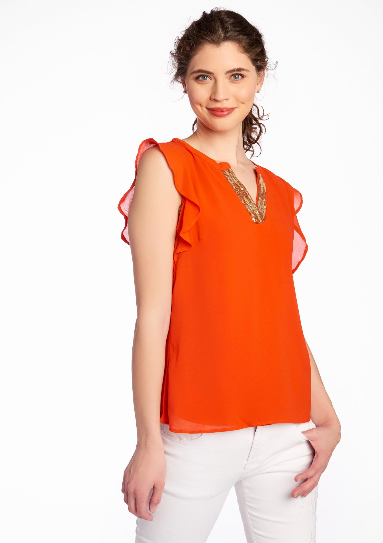 Image de T shirt, col v avec sequins LolaLiza Taille XS