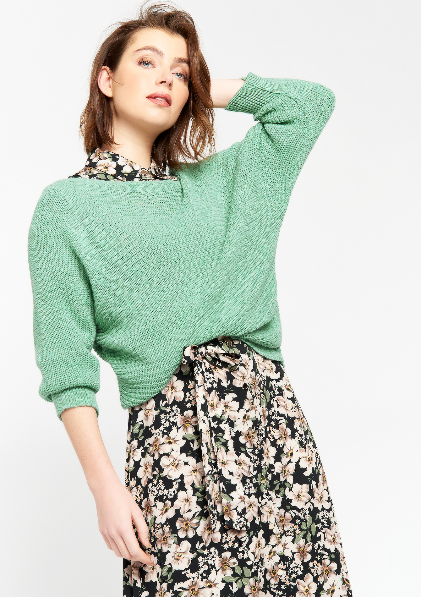 Bat-sleeved pullover - ALMOND GREEN - 04005545_1724