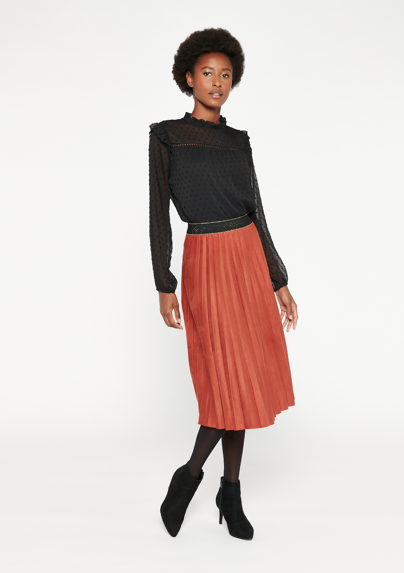 Faux-suede midi skirt - PAPRIKA RED - 07100773_320