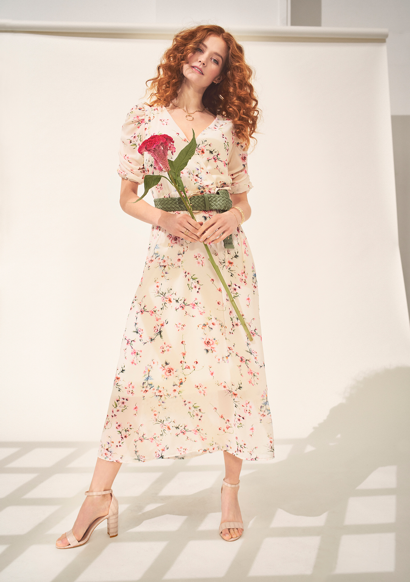 Long dress with small floral print - OFFWHITE - 08601317_1001