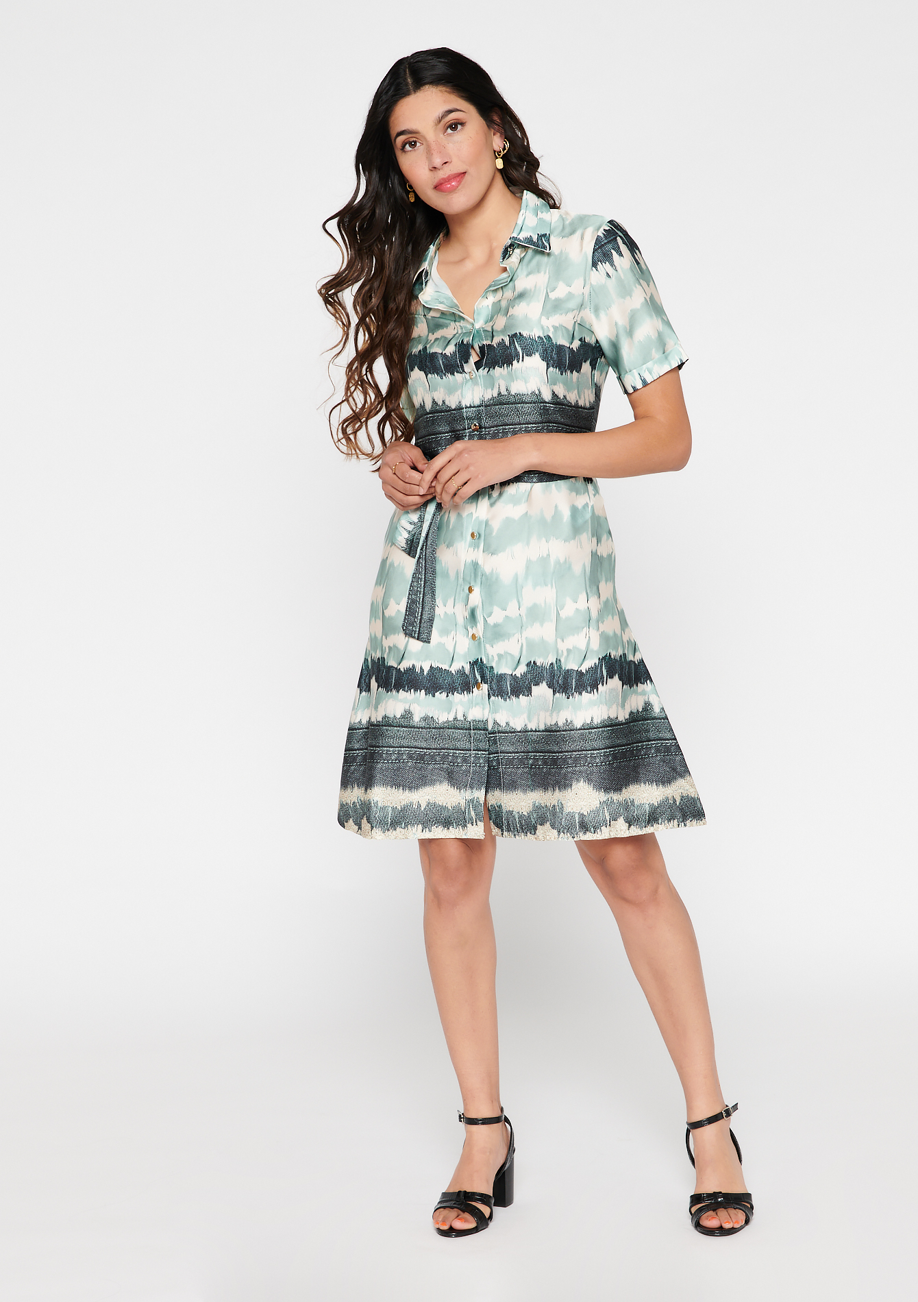 Shirt-dress with print and belt - ALMOND GREEN - 08102491_1724