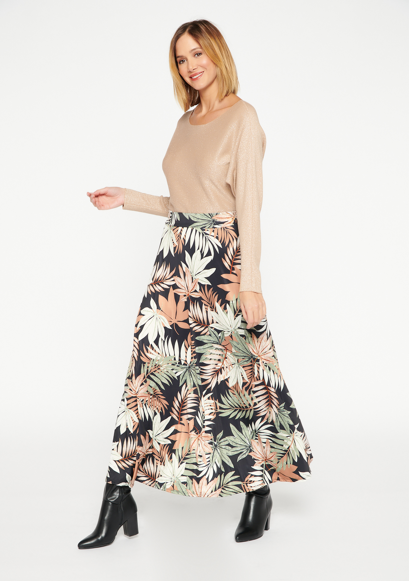 Skirt with leaves print - KHAKI MILD - 07100754_4318
