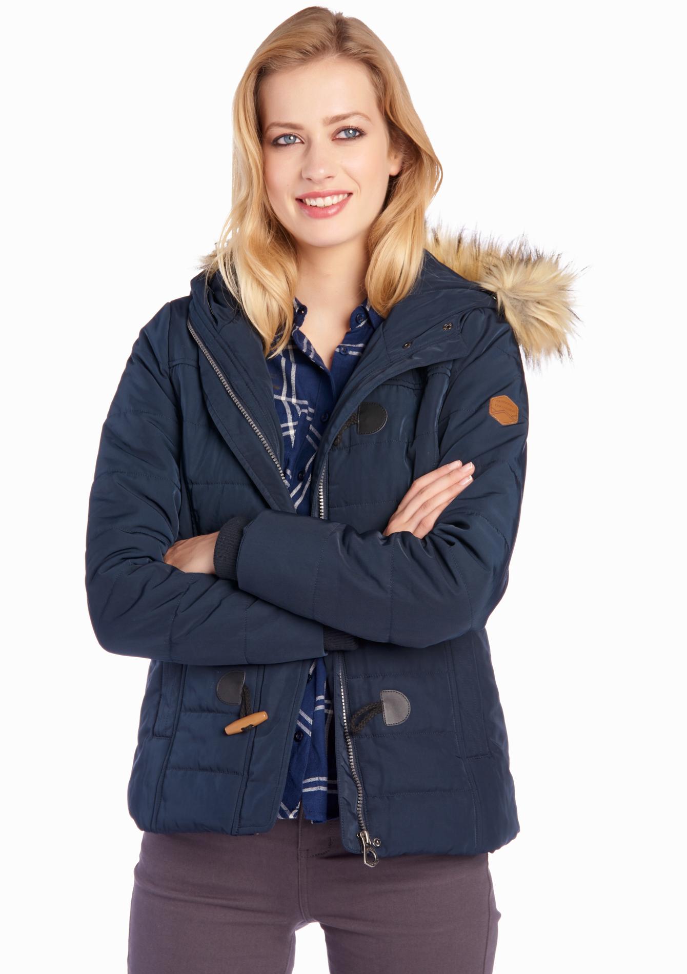 Gewatteerde jas, verwijderbare bont