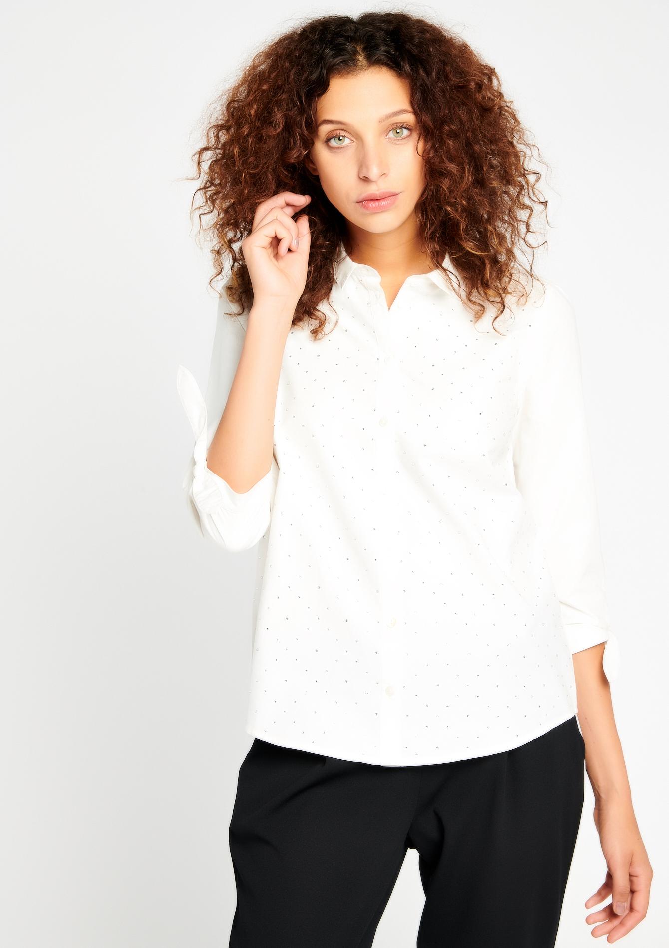 Hemd in popline met strass