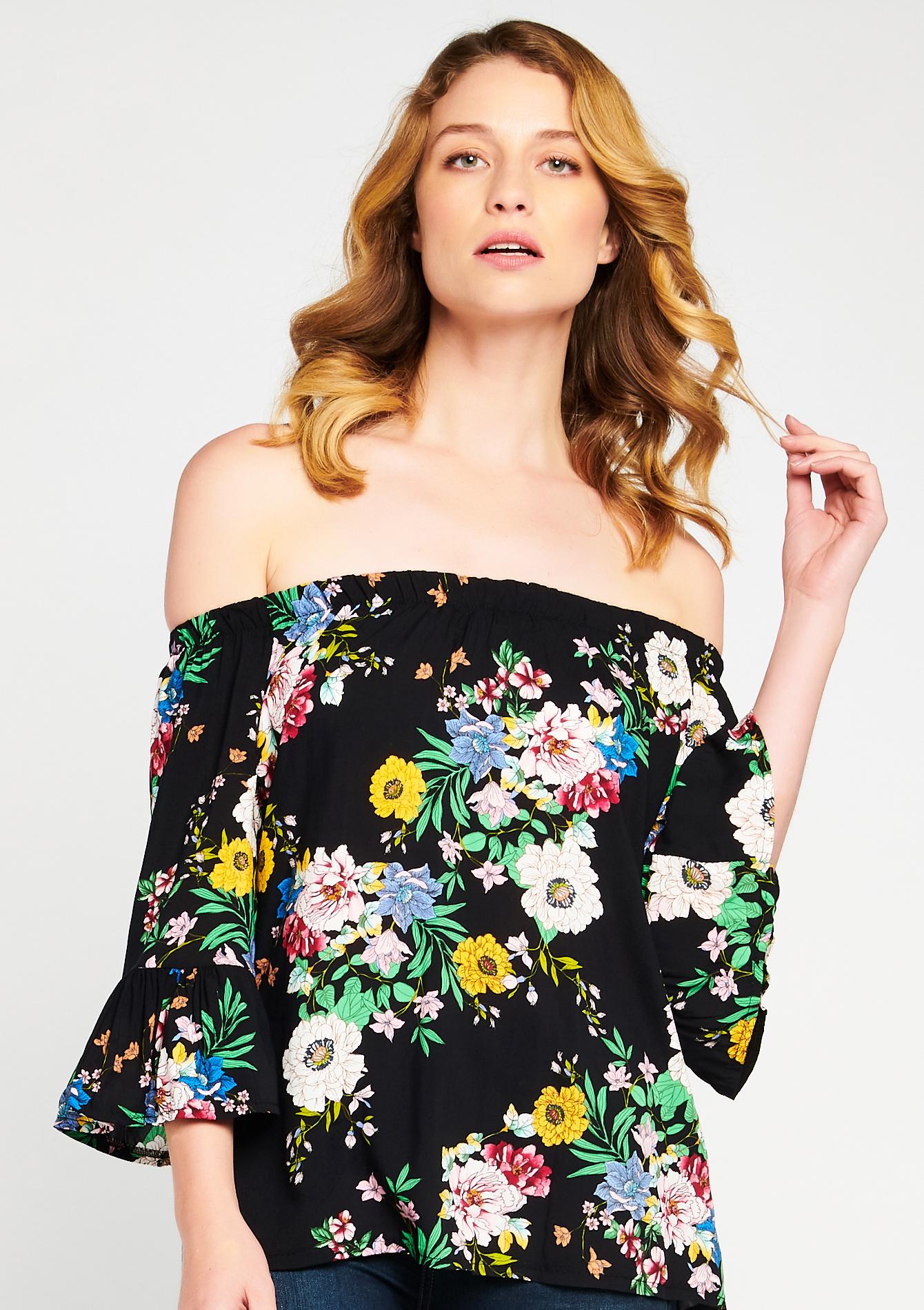 Blouse met open schouders, bloemenprint