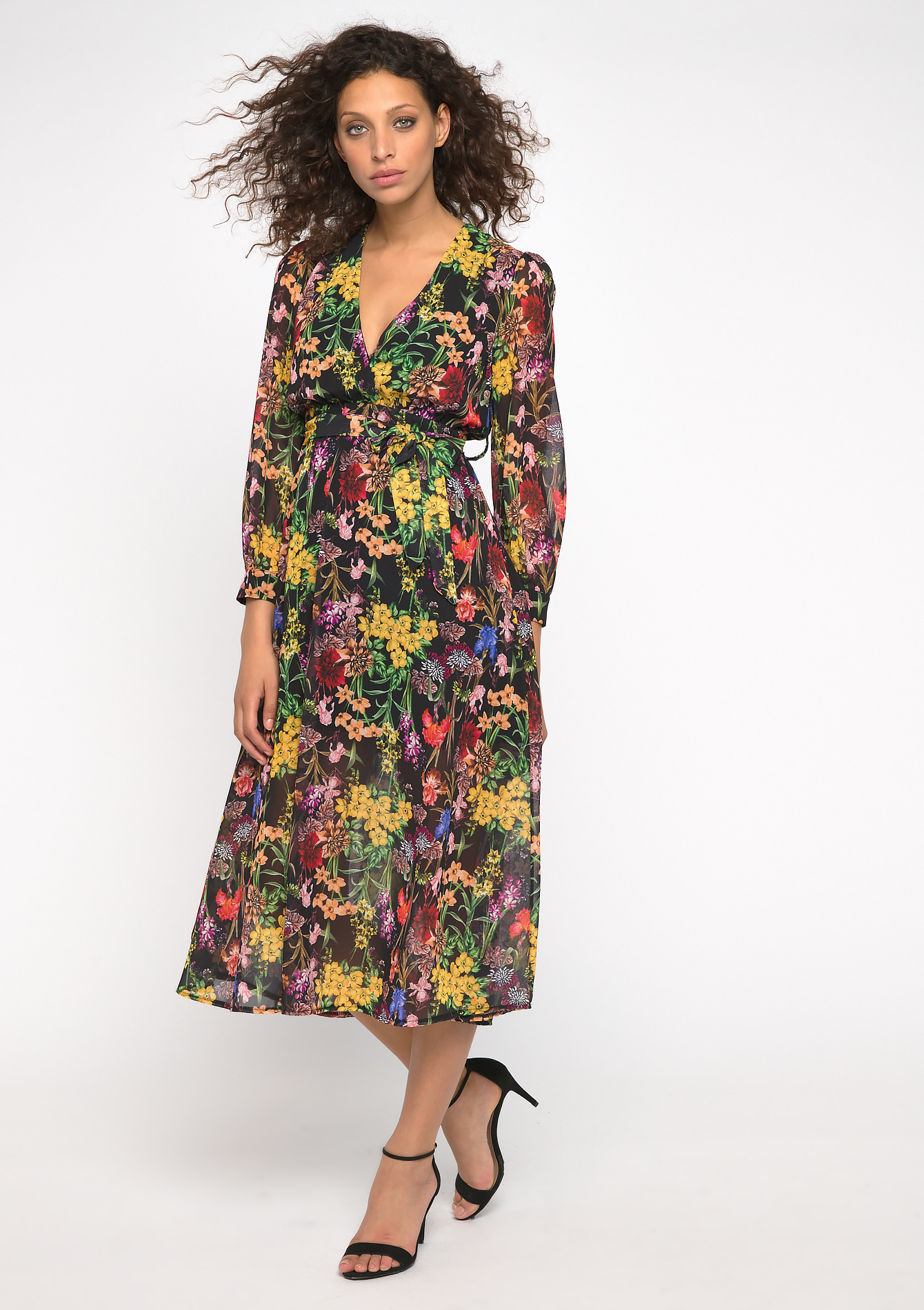 Midi jurk bloemenprint - YELLOW ACIDULE - 08600981_4915