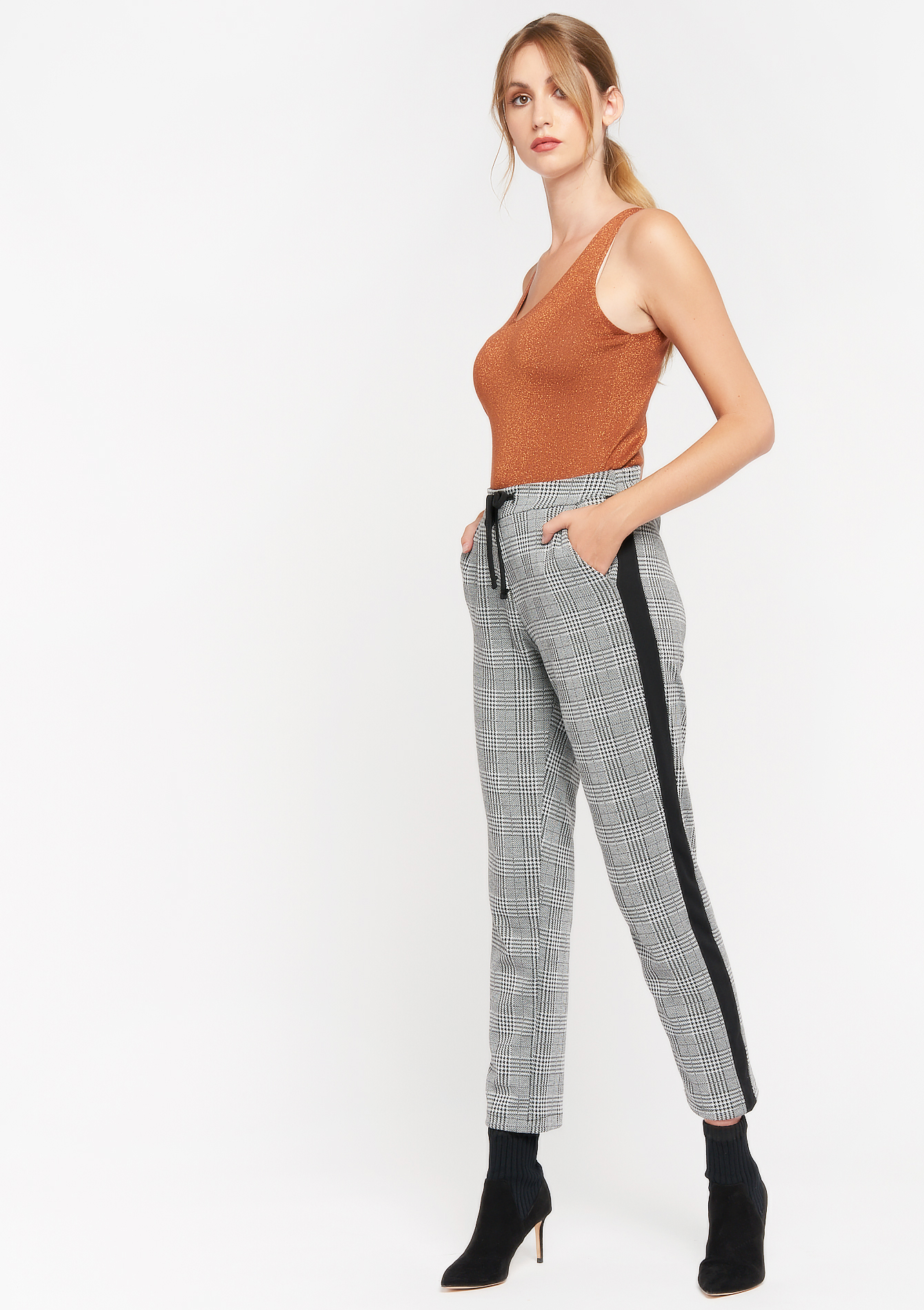 Check and striped trousers - BLACK - 06600394_1119