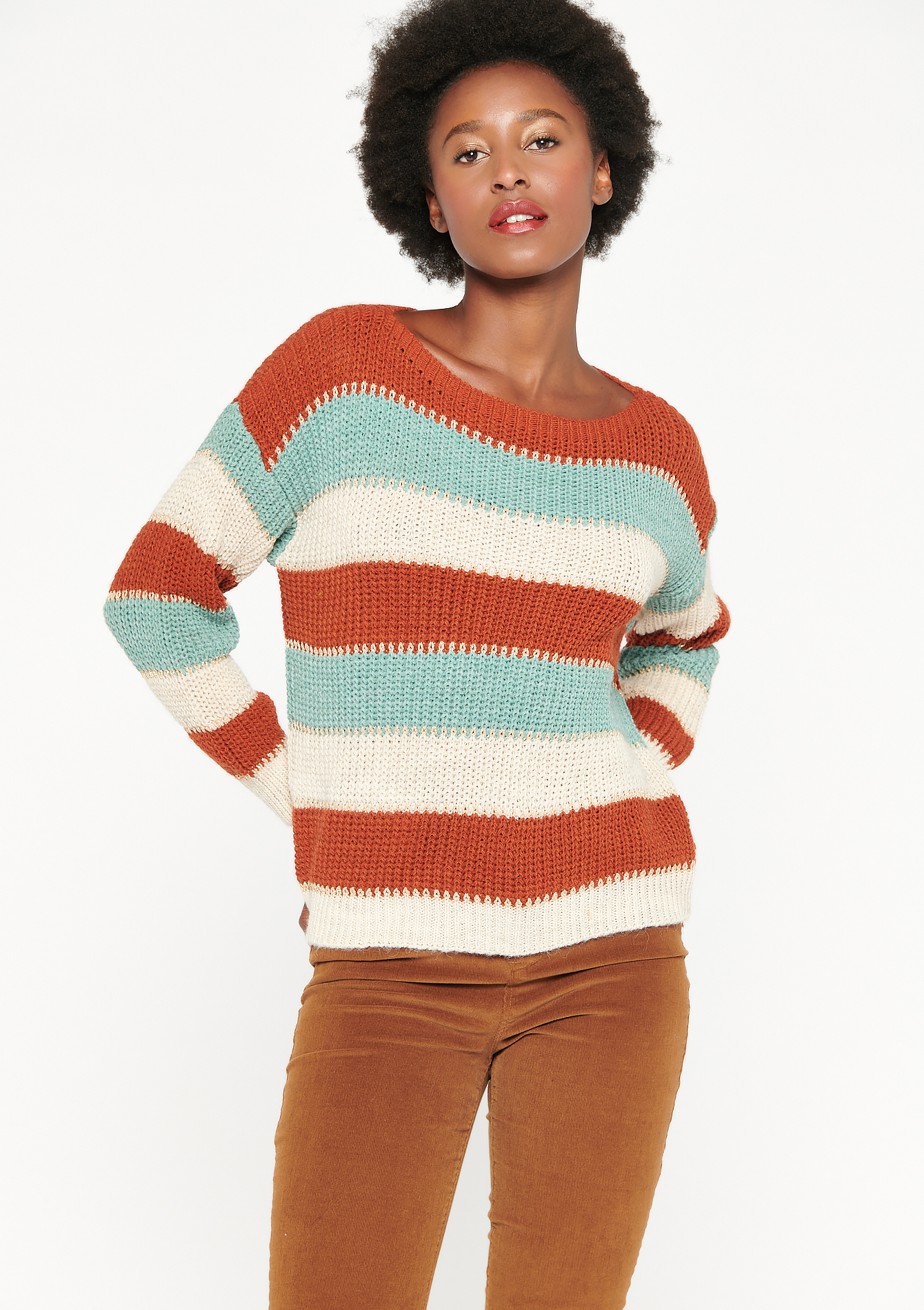 Lurex jumper with stripes - LIGHT ROOM RED - 04005397_3710