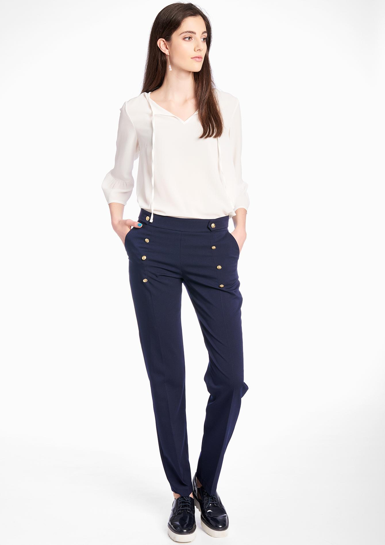 pantalon taille haute avec boutons dor s lolaliza. Black Bedroom Furniture Sets. Home Design Ideas