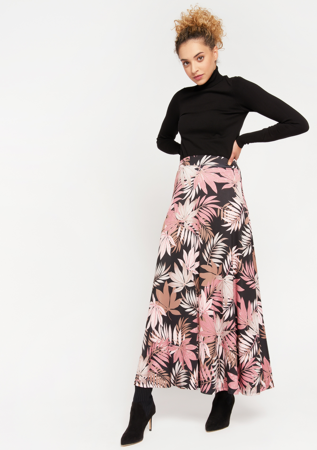 Skirt with leaves print - PINK TERRA - 07100754_4115