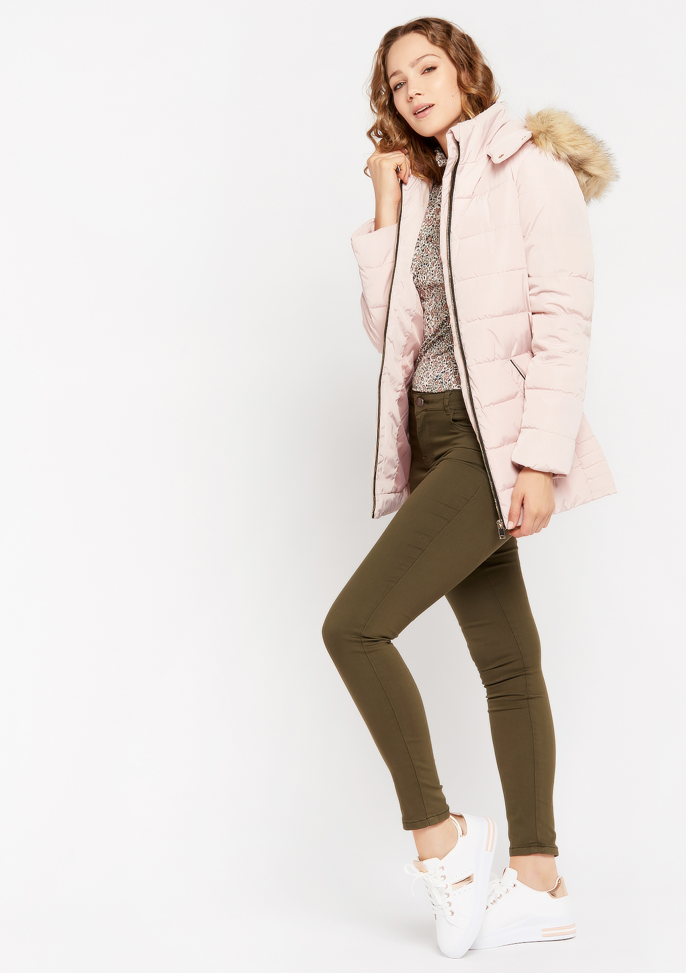 Padded hooded jacket - NUDE PINK - 23000279_1301