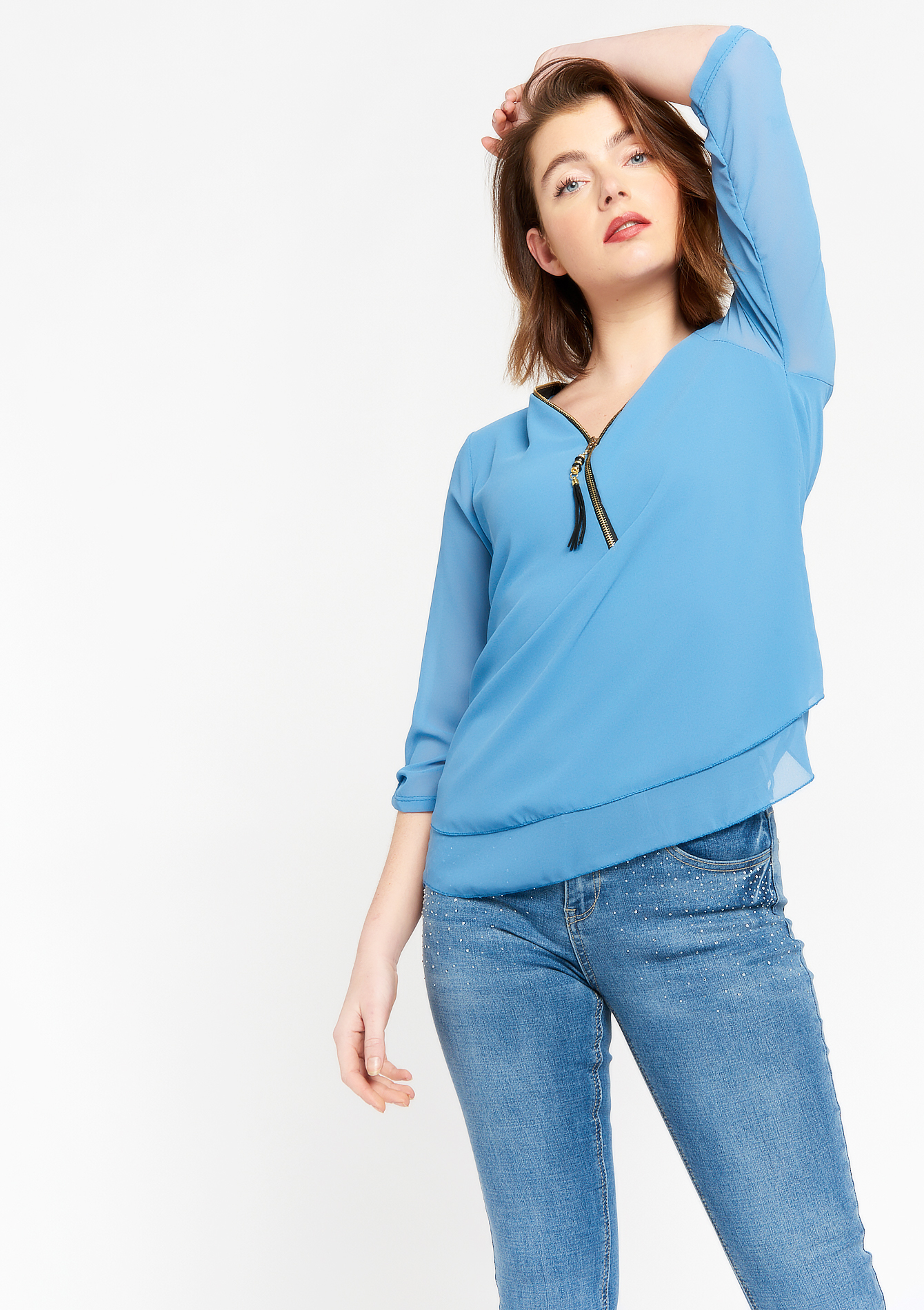 Three-quarter sleeve blouse with zip - BLUE ARTIC - 05701597_2900