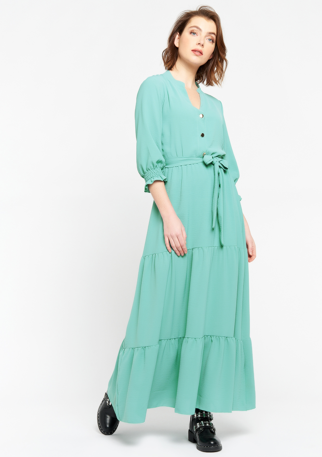 Maxi dress with buttons - MINT GREEN - 08102454_1723