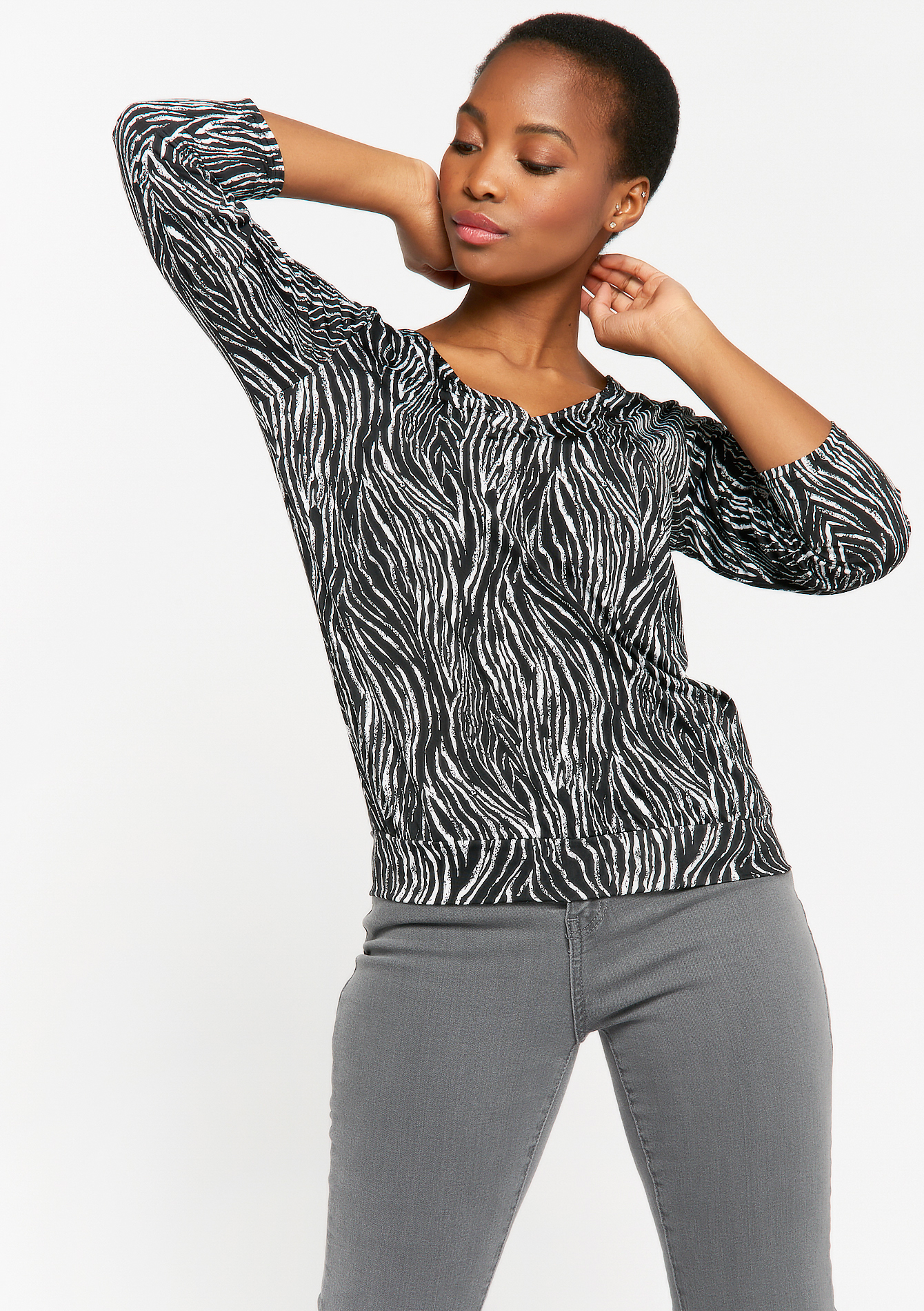 Zebra print top with lace - BLACK - 02300897_1119