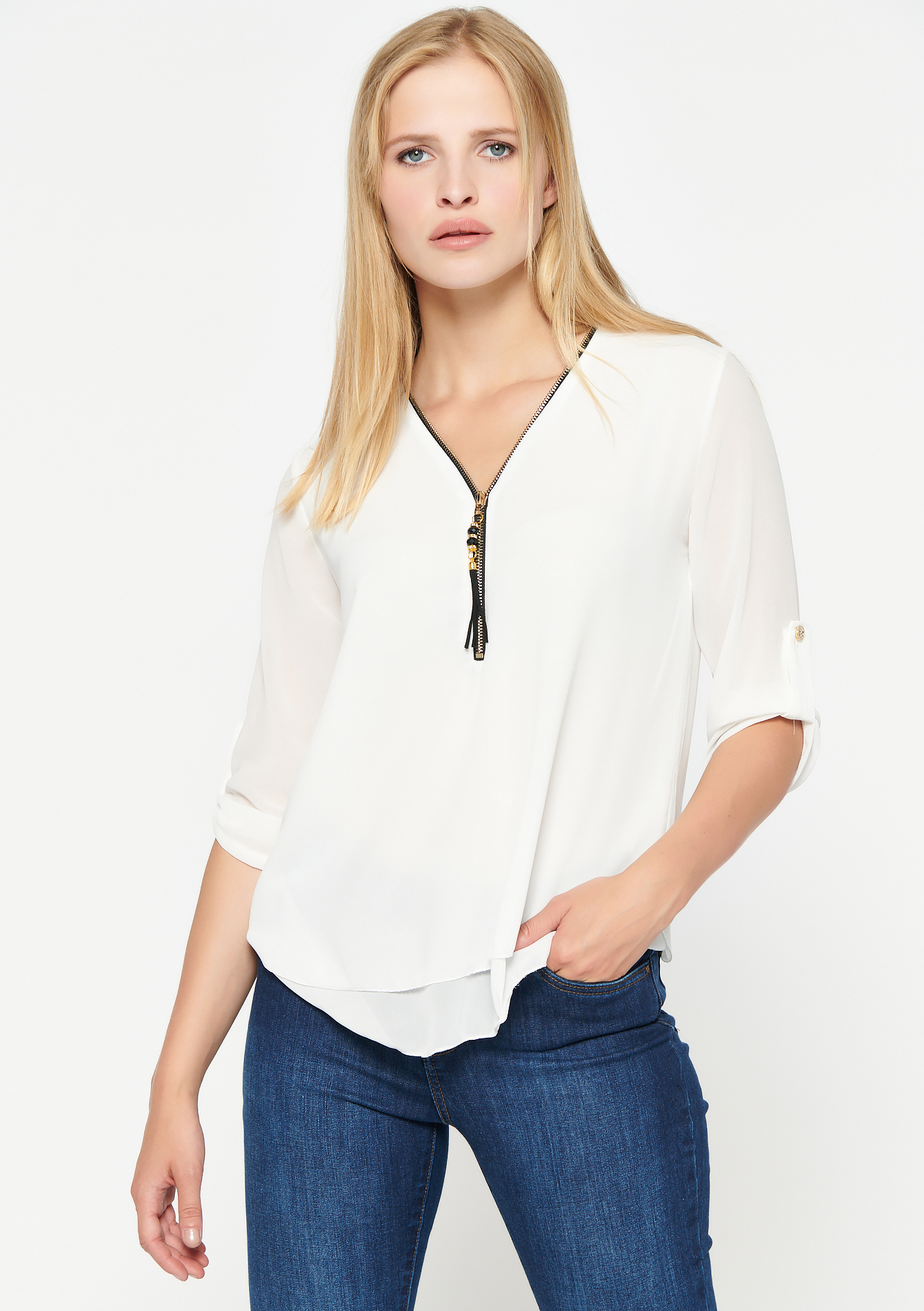 Blouse met driekwartsmouw en rits - NATURAL WHITE - 05701508_2510