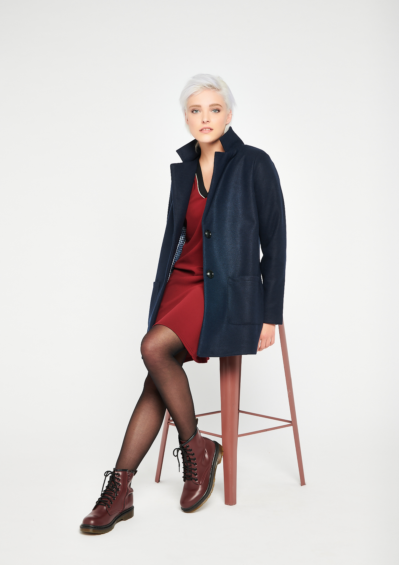 Plain color coat - NAVY BLUE - 23000178_1651