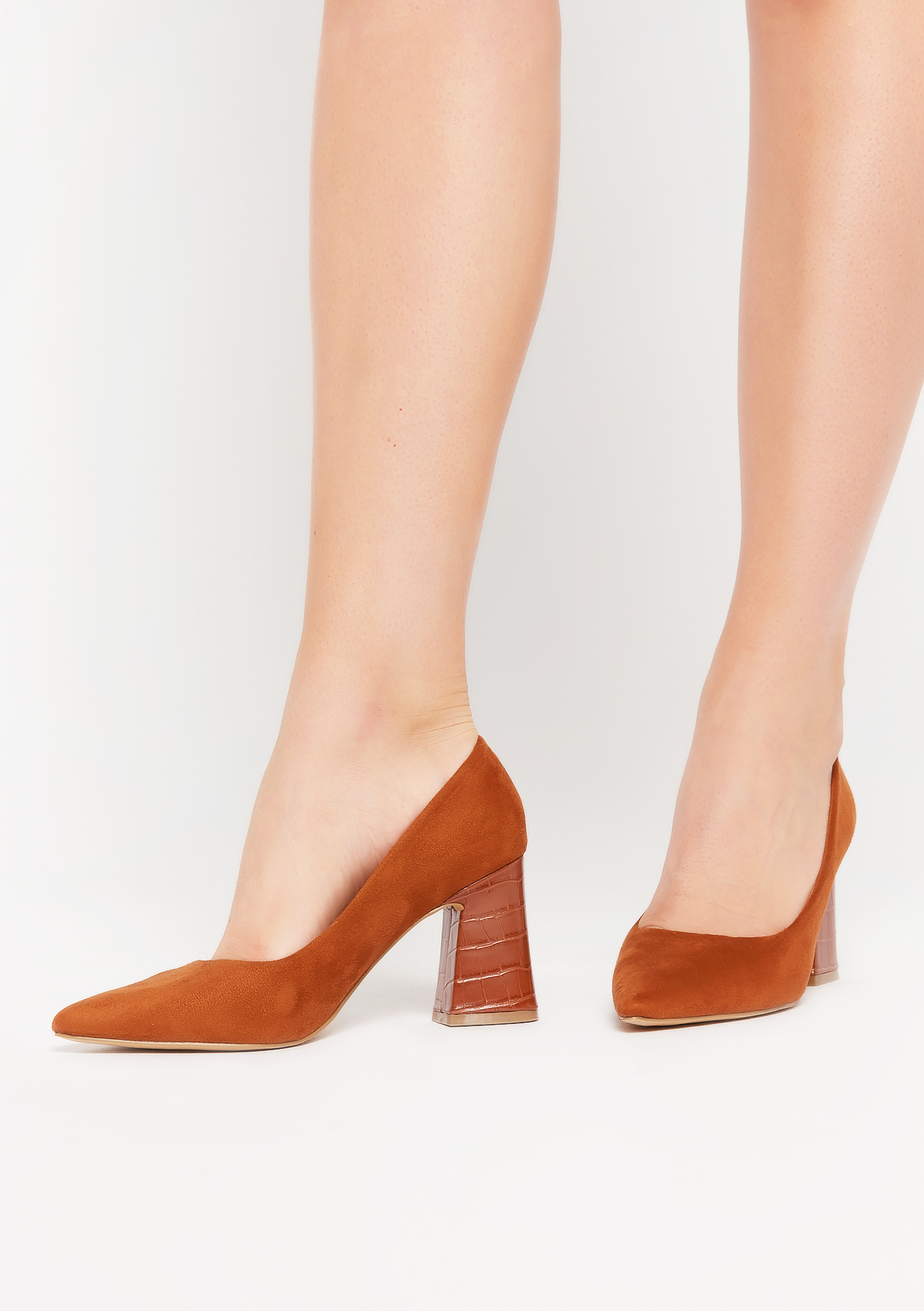 High block-heeled faux-suede pumps - CAMEL BROWN - 13000518_3818