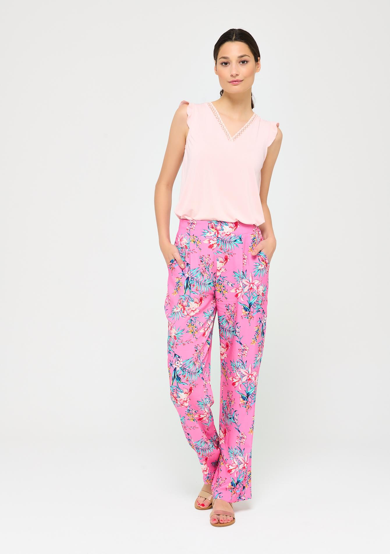 Pantalon large à imprimé tropical - LolaLiza - Modalova