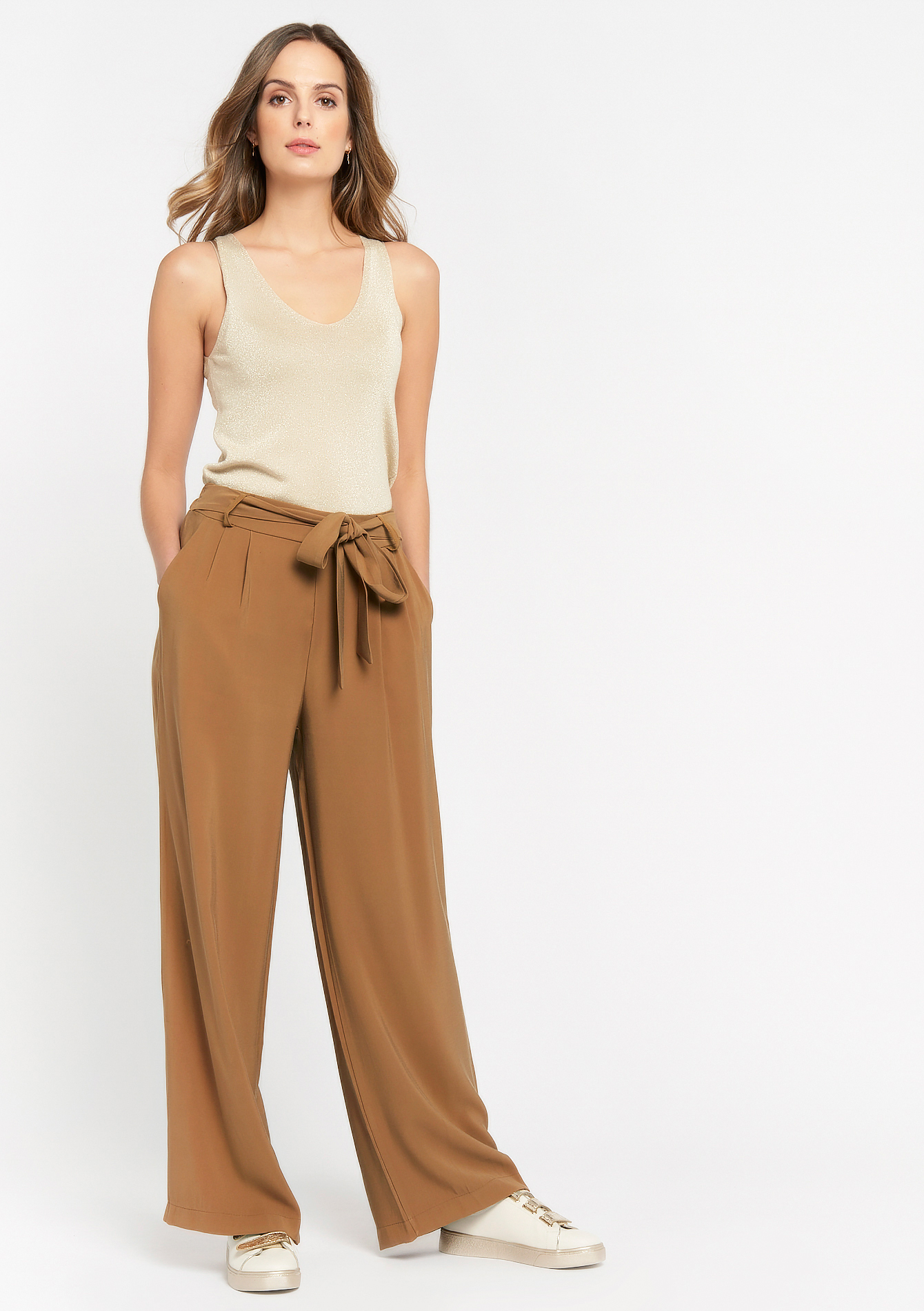 Losse broek met ceintuur met strik - TOBACCO BROWN - 06600454_1956