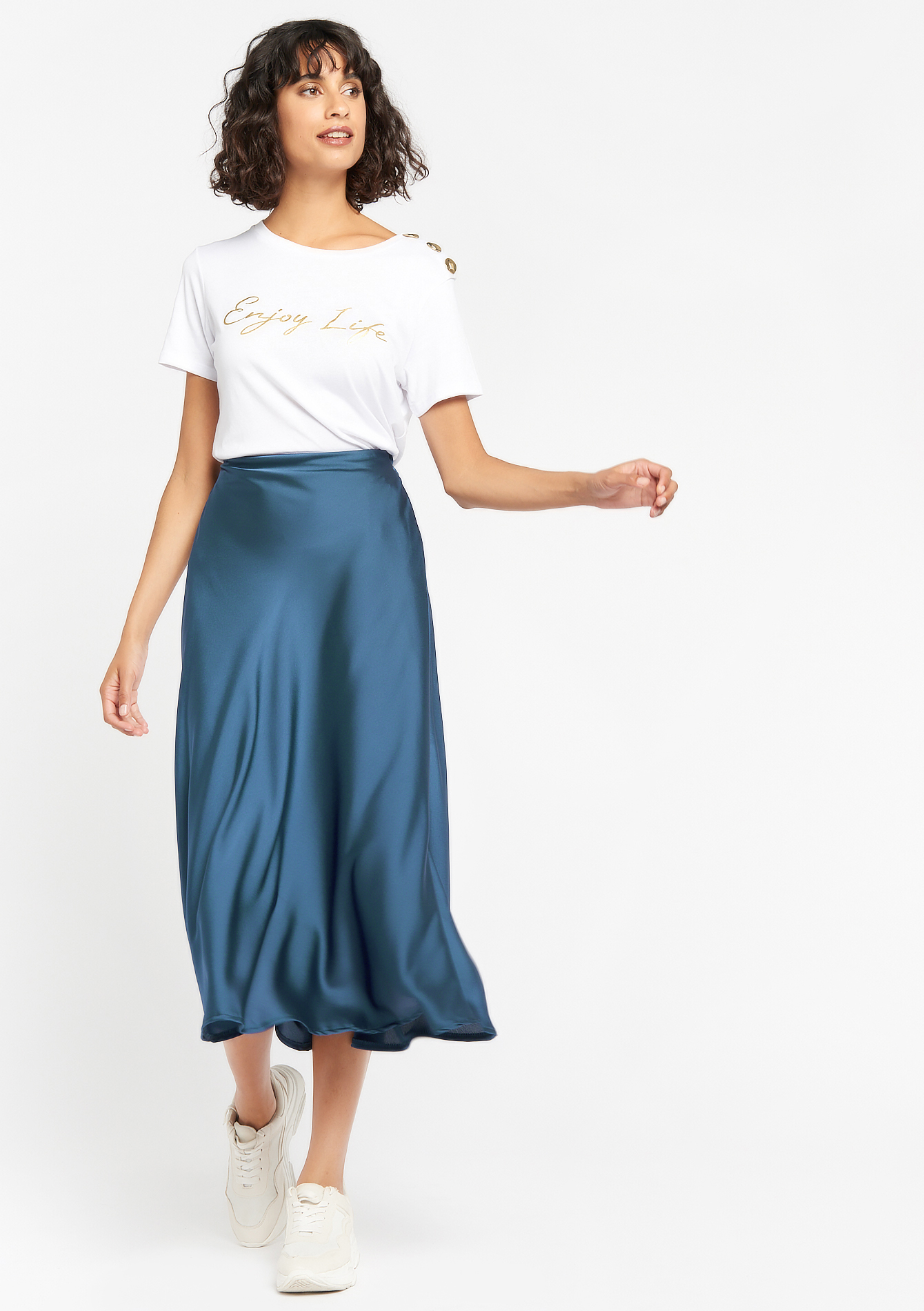 Maxi satin skirt - BLUE LAGON - 07100759_1771
