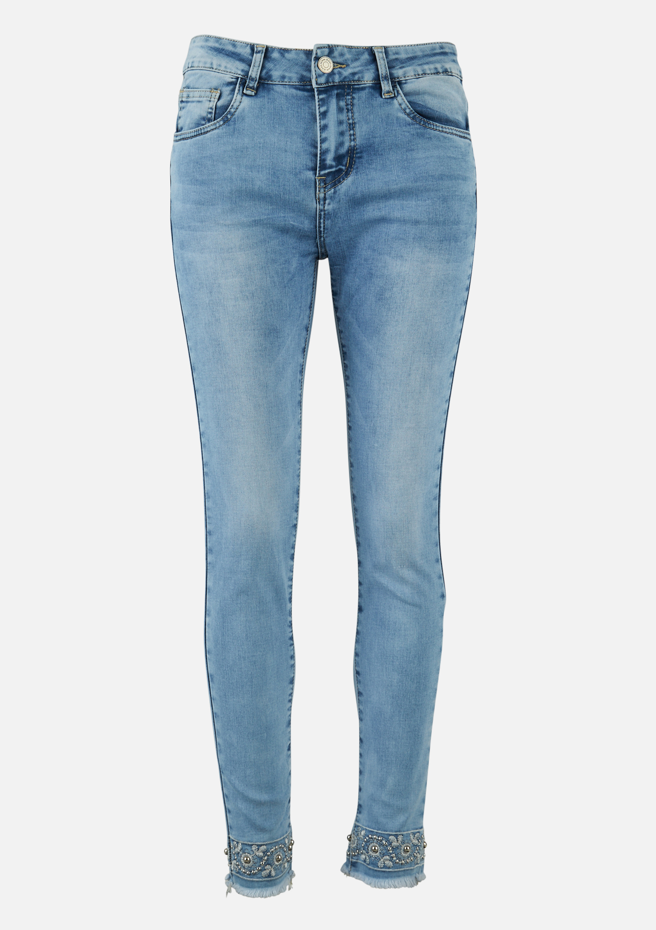 Jeans skinny broderie aux jambes - BLUE BLEACHED - 22000245_0502