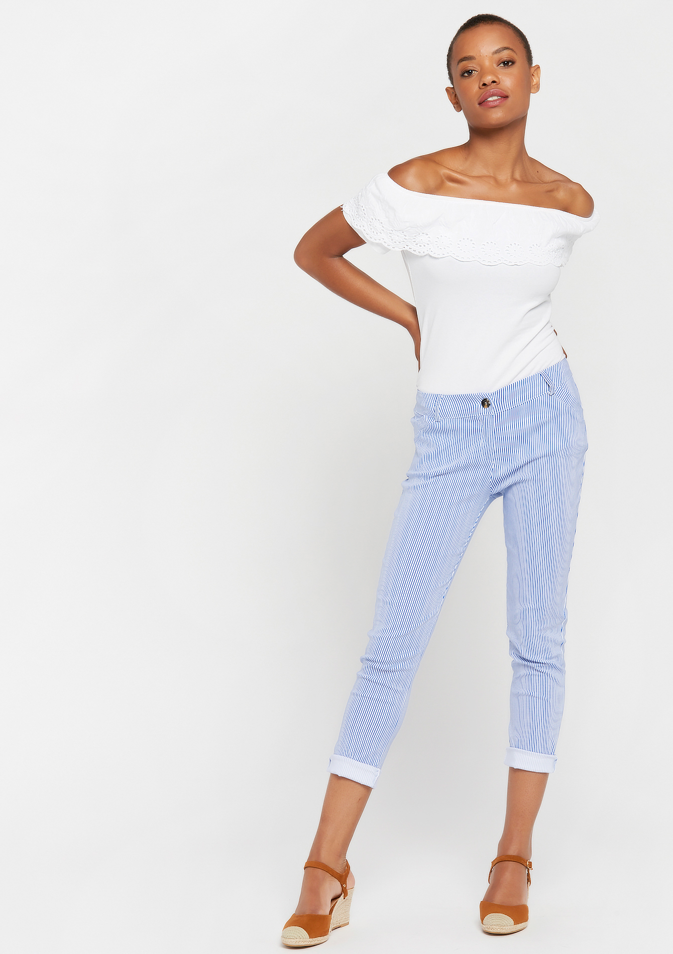 Slim broek bengaline - LIGHT BLUE - 953118
