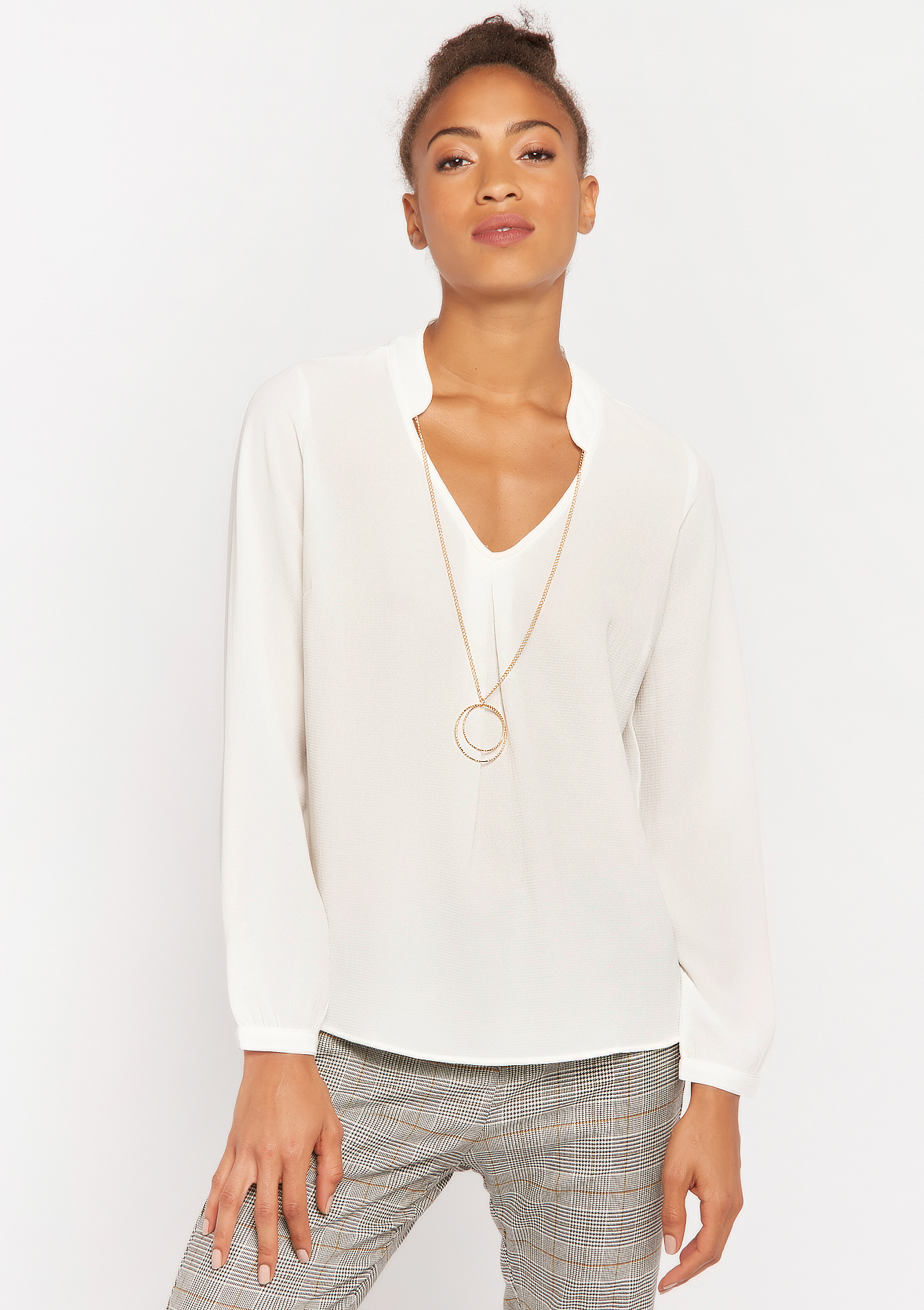 Blouse with necklace - OFFWHITE - 05700404_1001