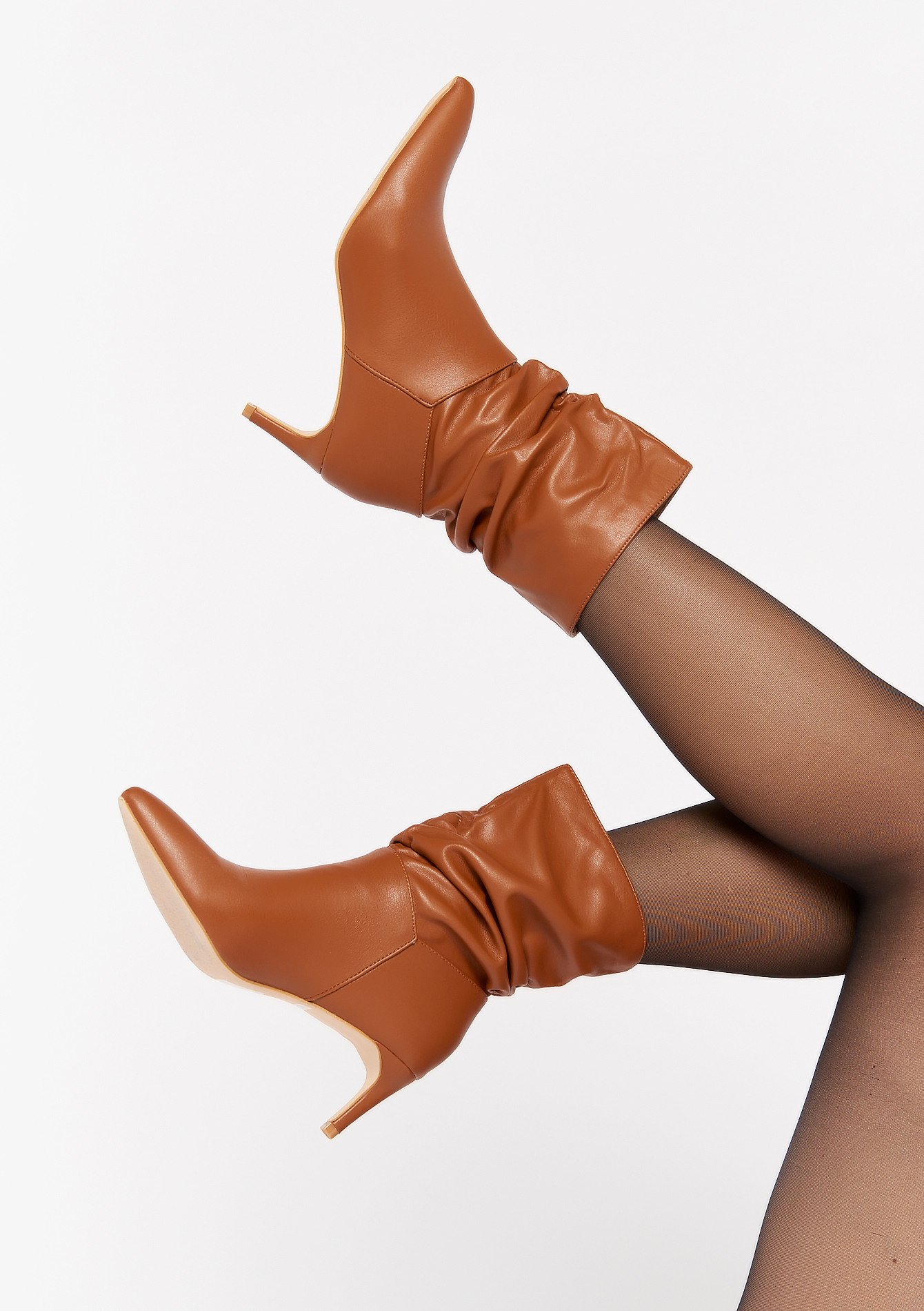 Ankle boots with high stiletto heels - CAMEL BROWN - 13100087_3818