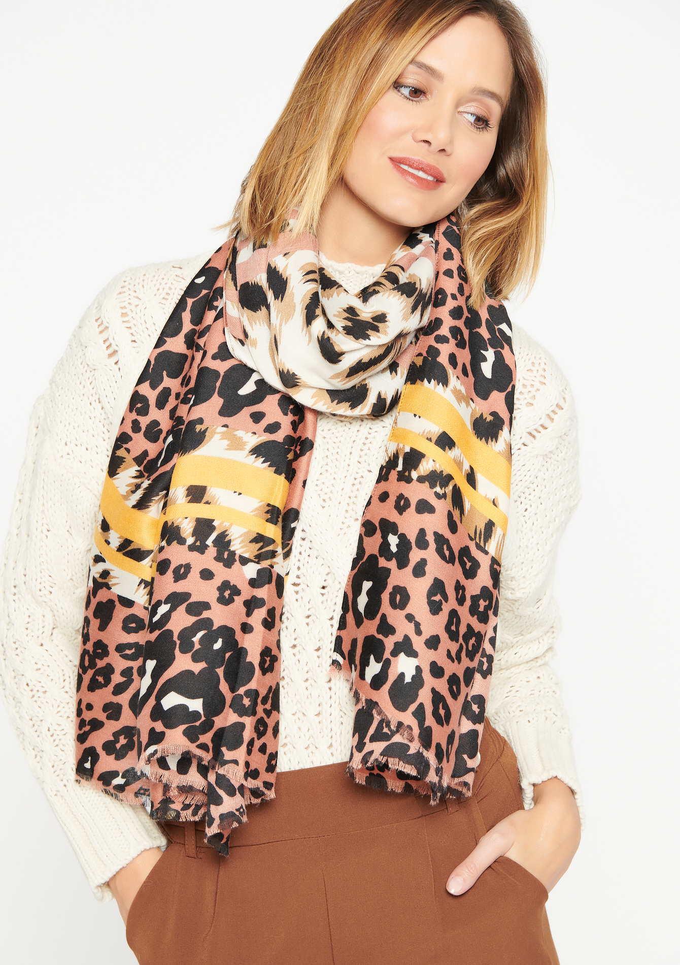 Leopard scarf - PINK BLOSSOM - 1003440