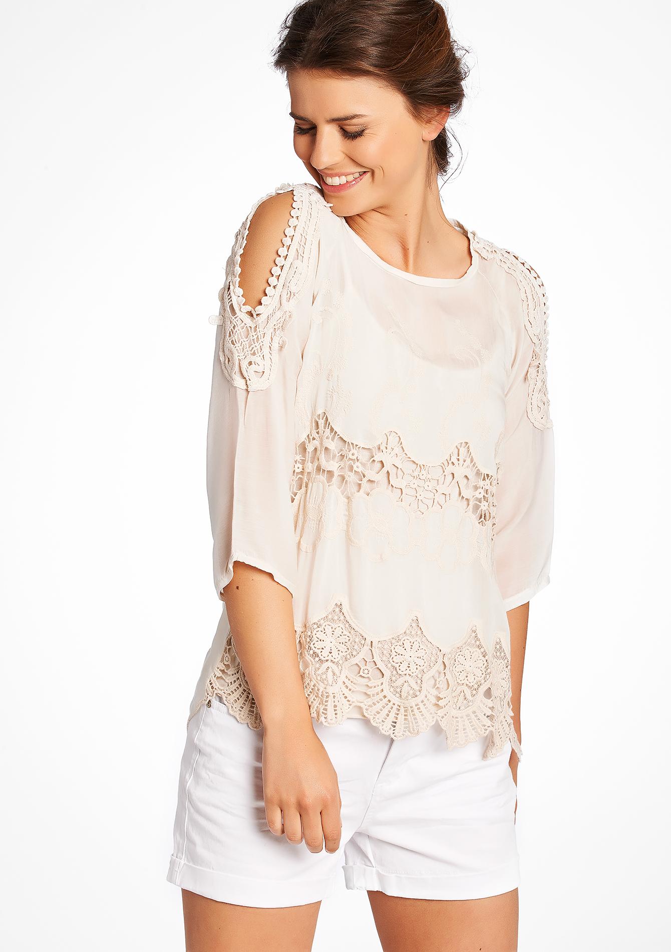 blouse met open schouders