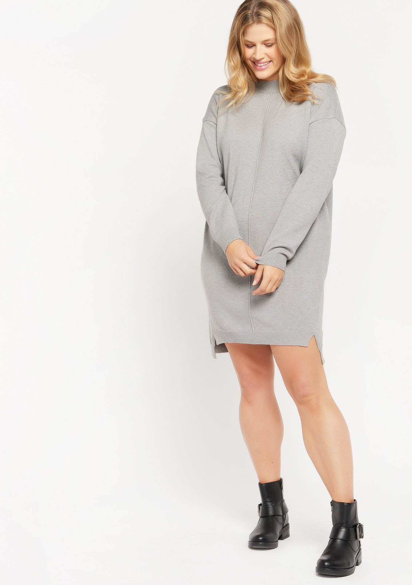Mini trui-jurk - LIGHT GREY MEL - 08102362_1061