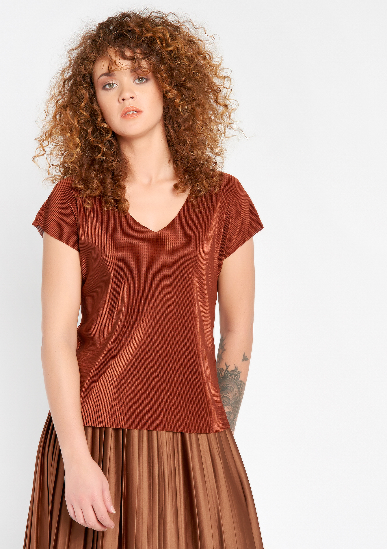T-shirt met korte mouwen & plisse