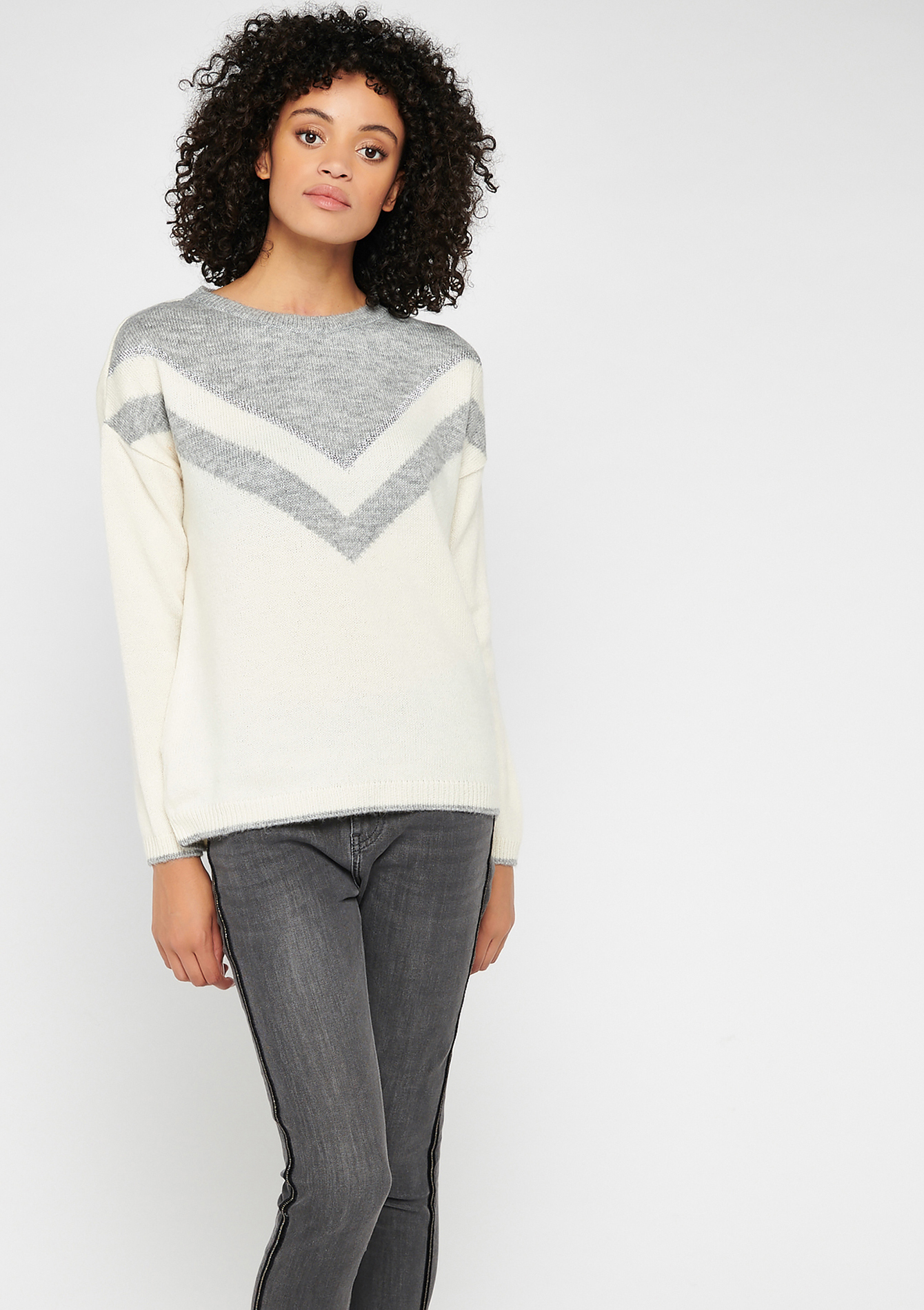 Color block sweater - MED GREY MEL - 04004935_1063