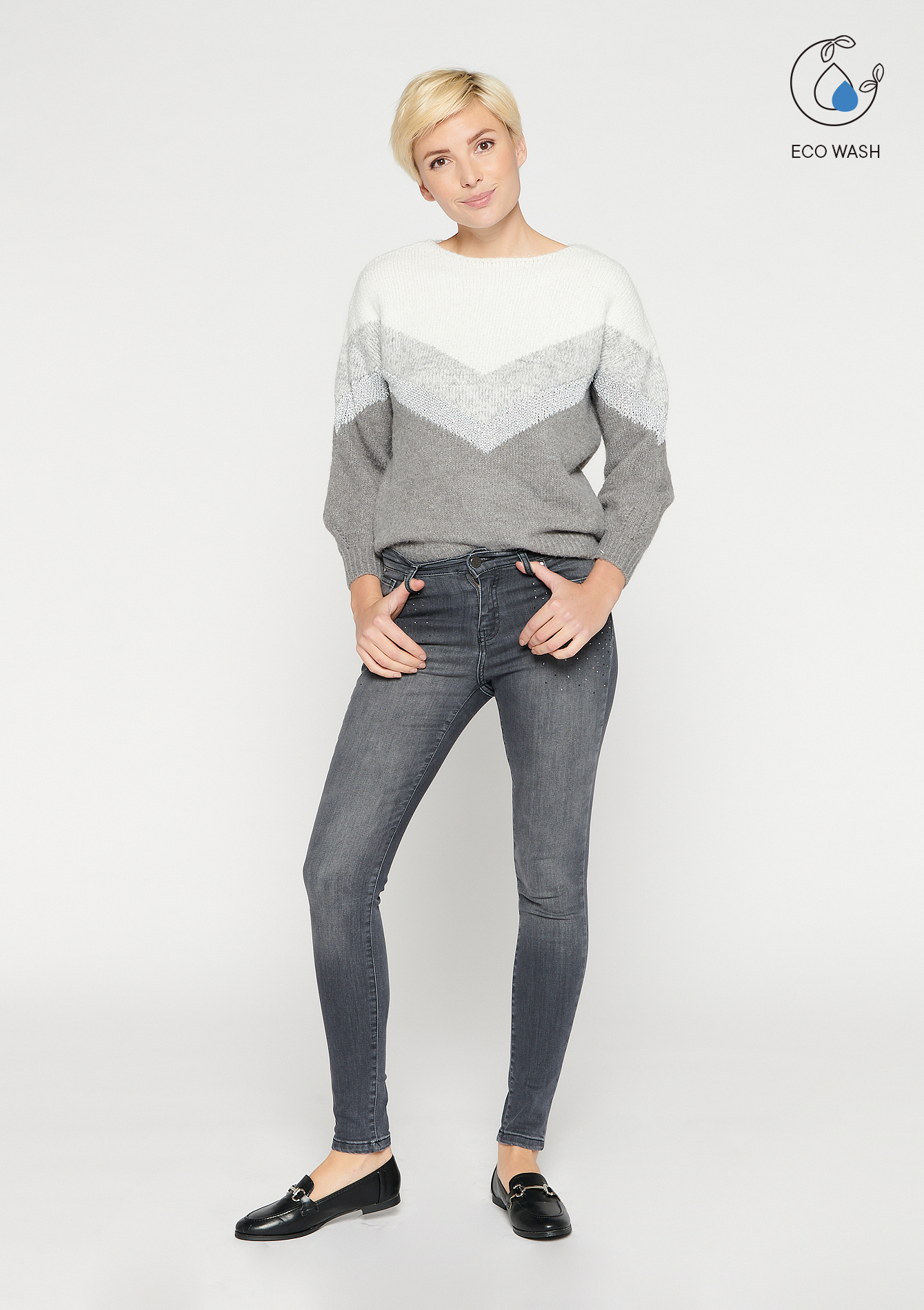 Jeans skinny avec strass - MEDIUM GREY - 22000254_0512