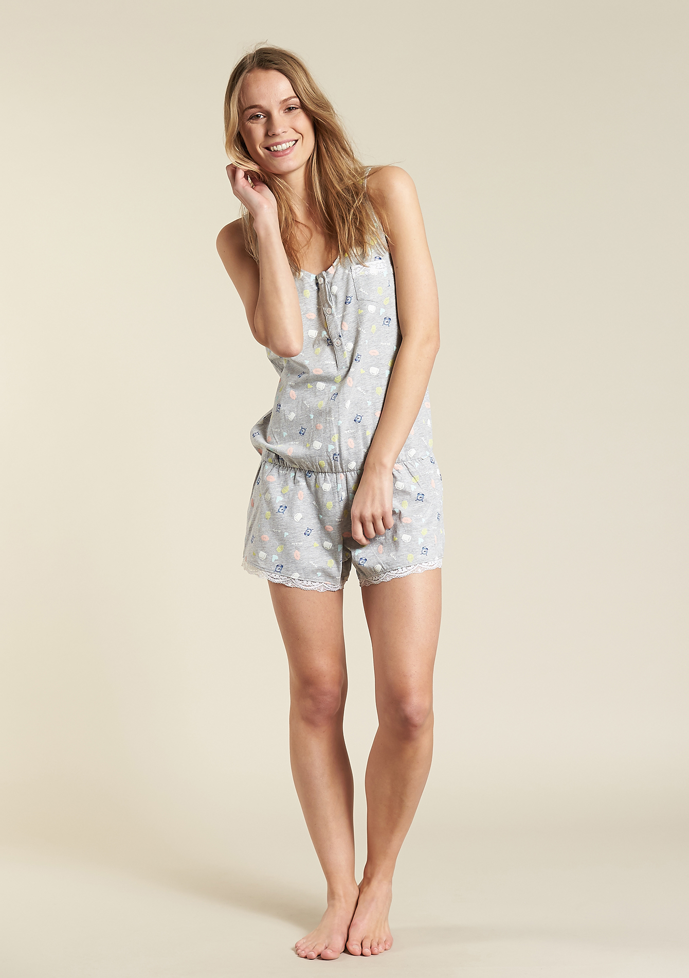 Vaak Korte geprinte pyjama jumpsuit - LolaLiza &XU03