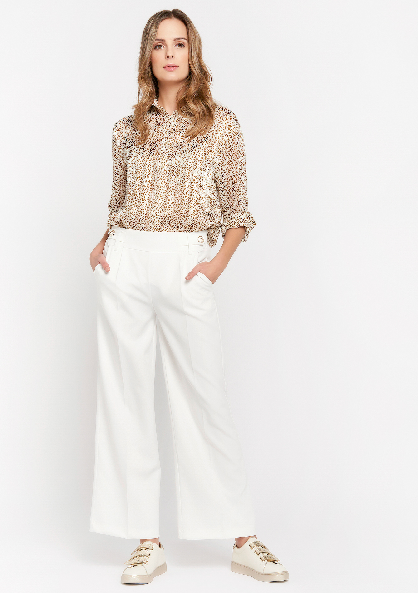 Losse broek met glimmende knopen - NATURAL WHITE - 06600459_2510