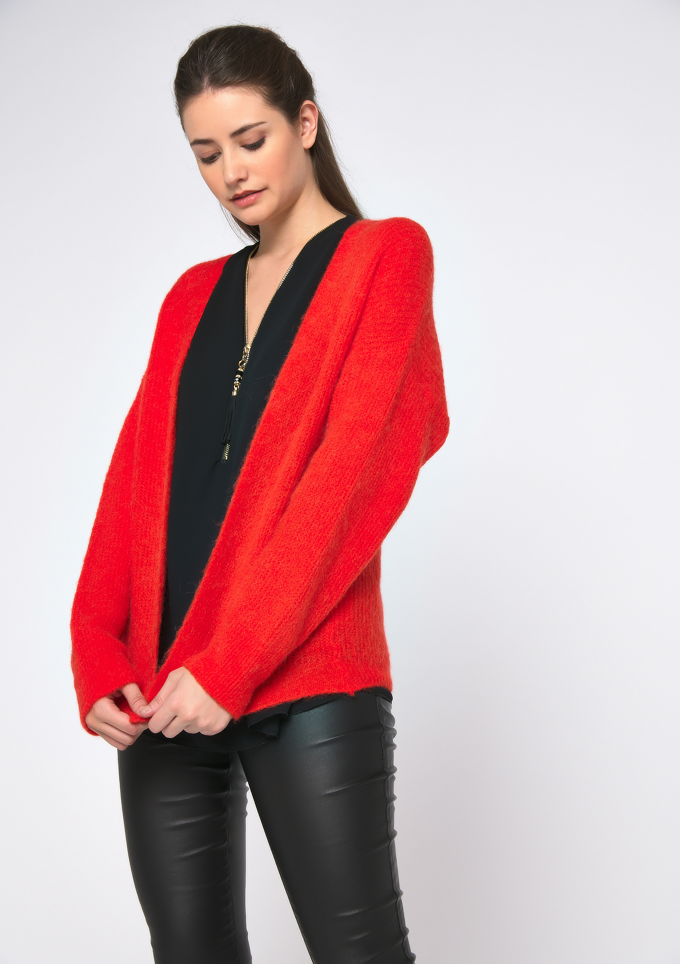 Mohair cardigan - ORANGE FLASH - 04100663_1245